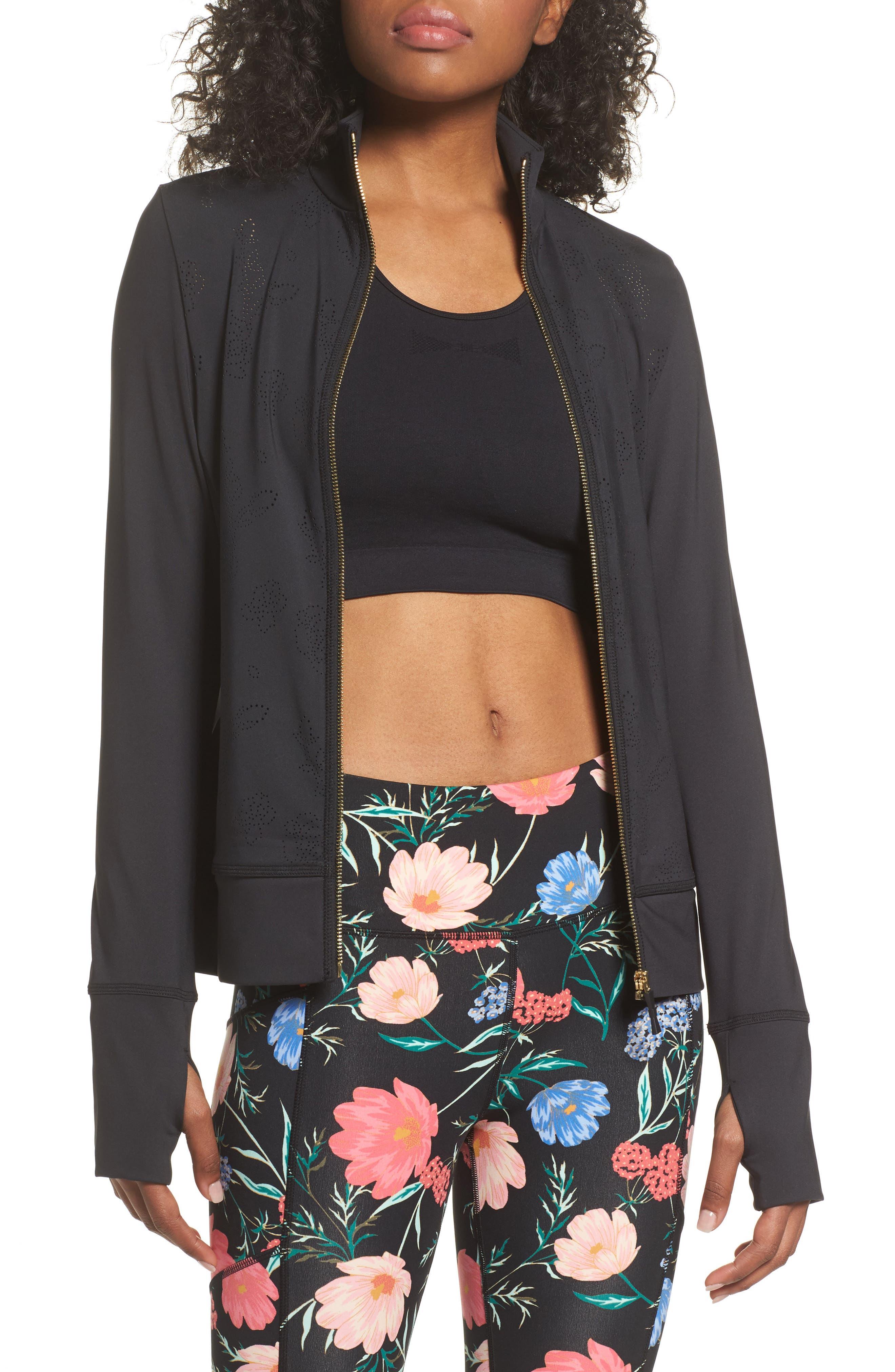 flora laser cut jacket,                         Main,                         color, Black