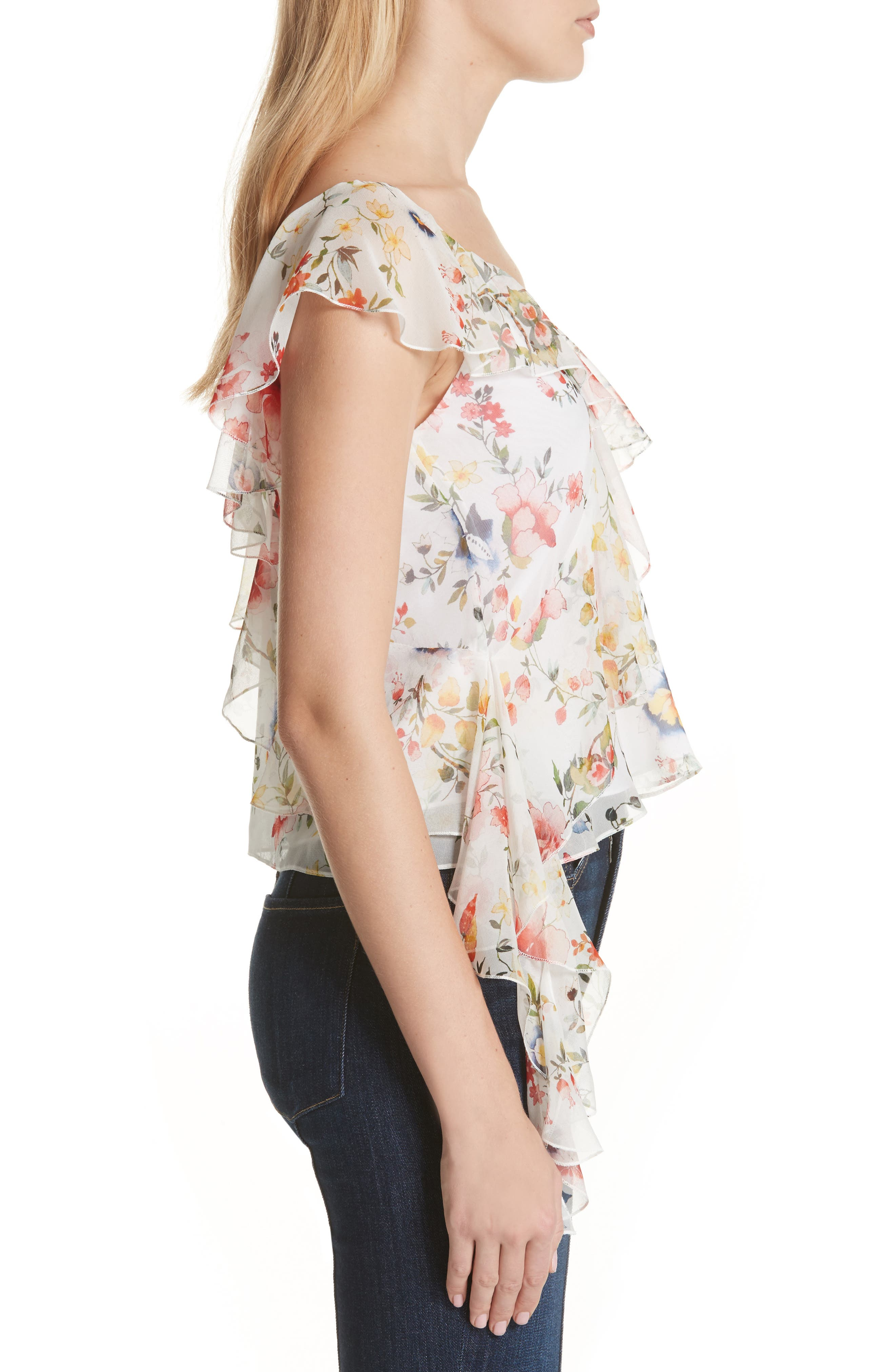 Pauline Asymmetrical Silk Tank,                             Alternate thumbnail 3, color,                             Floral Soiree-Off White