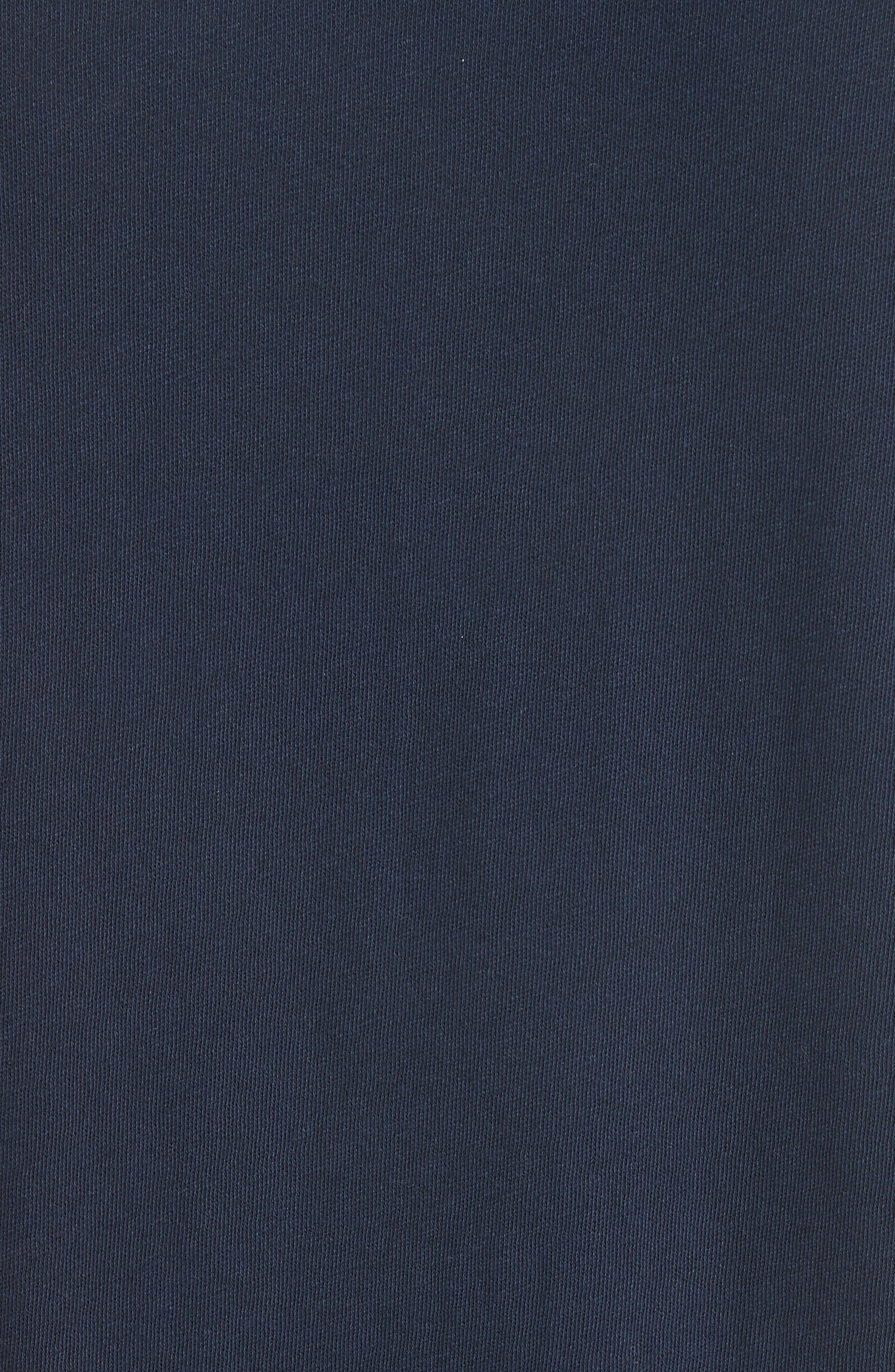 Hartley Crewneck Cotton & Linen T-Shirt,                             Alternate thumbnail 5, color,                             Navy
