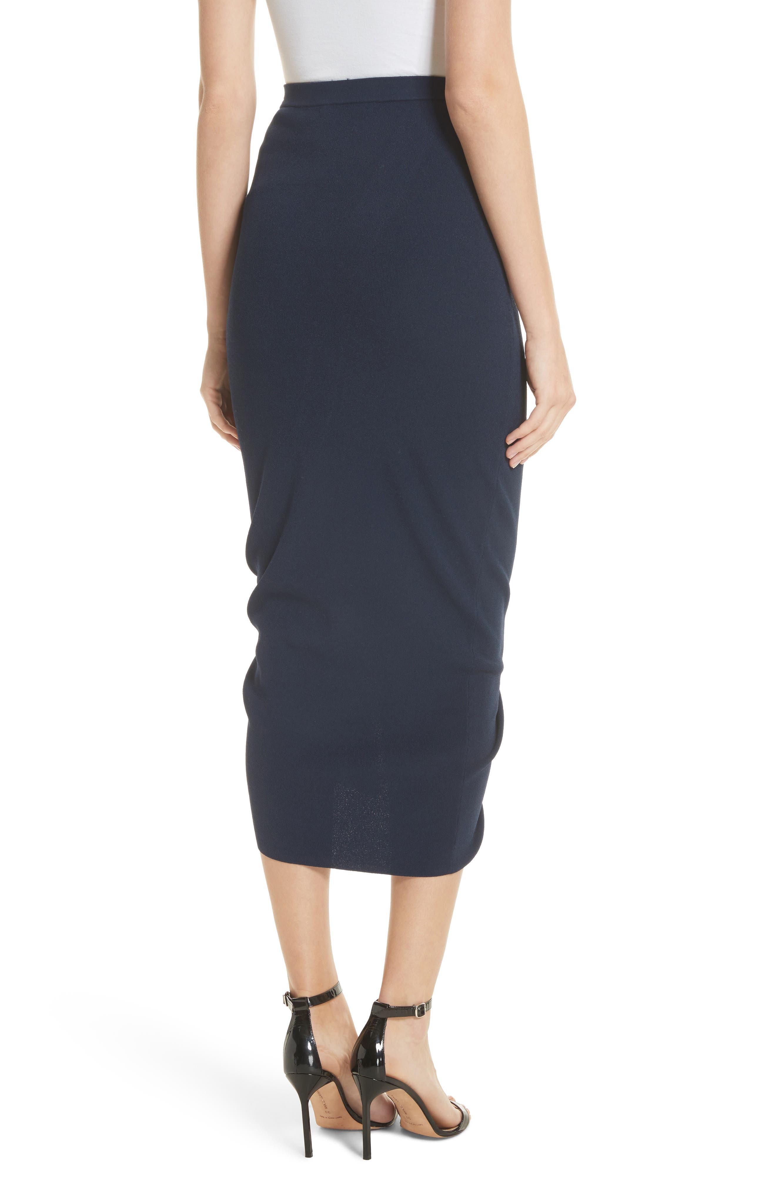 Ruched Midi Skirt,                             Alternate thumbnail 2, color,                             Navy