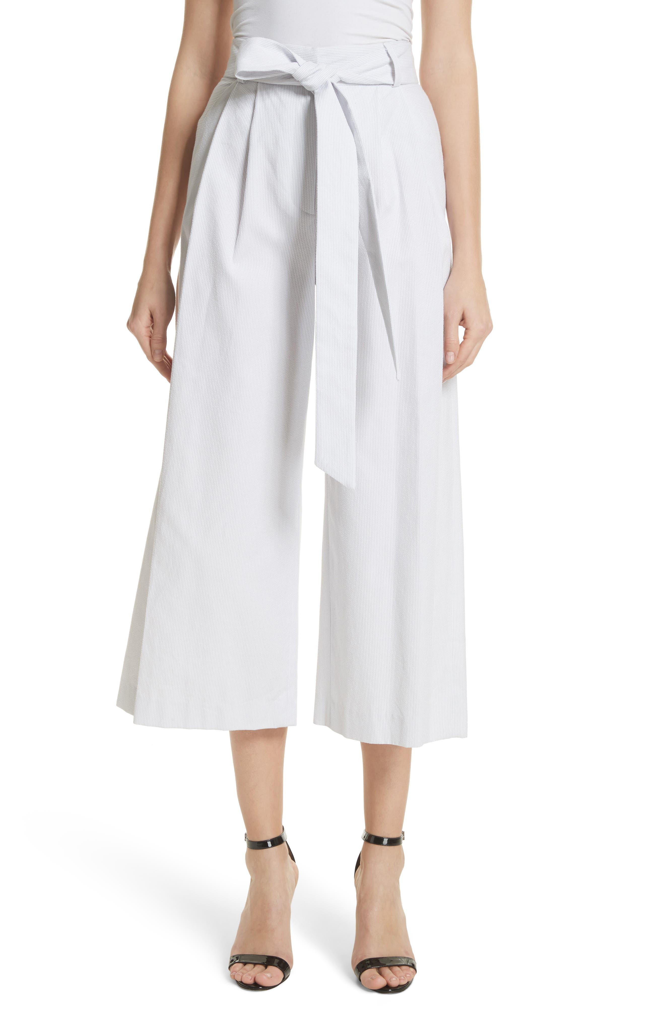 Natalie Crop Tie Waist Pants,                         Main,                         color, Grey