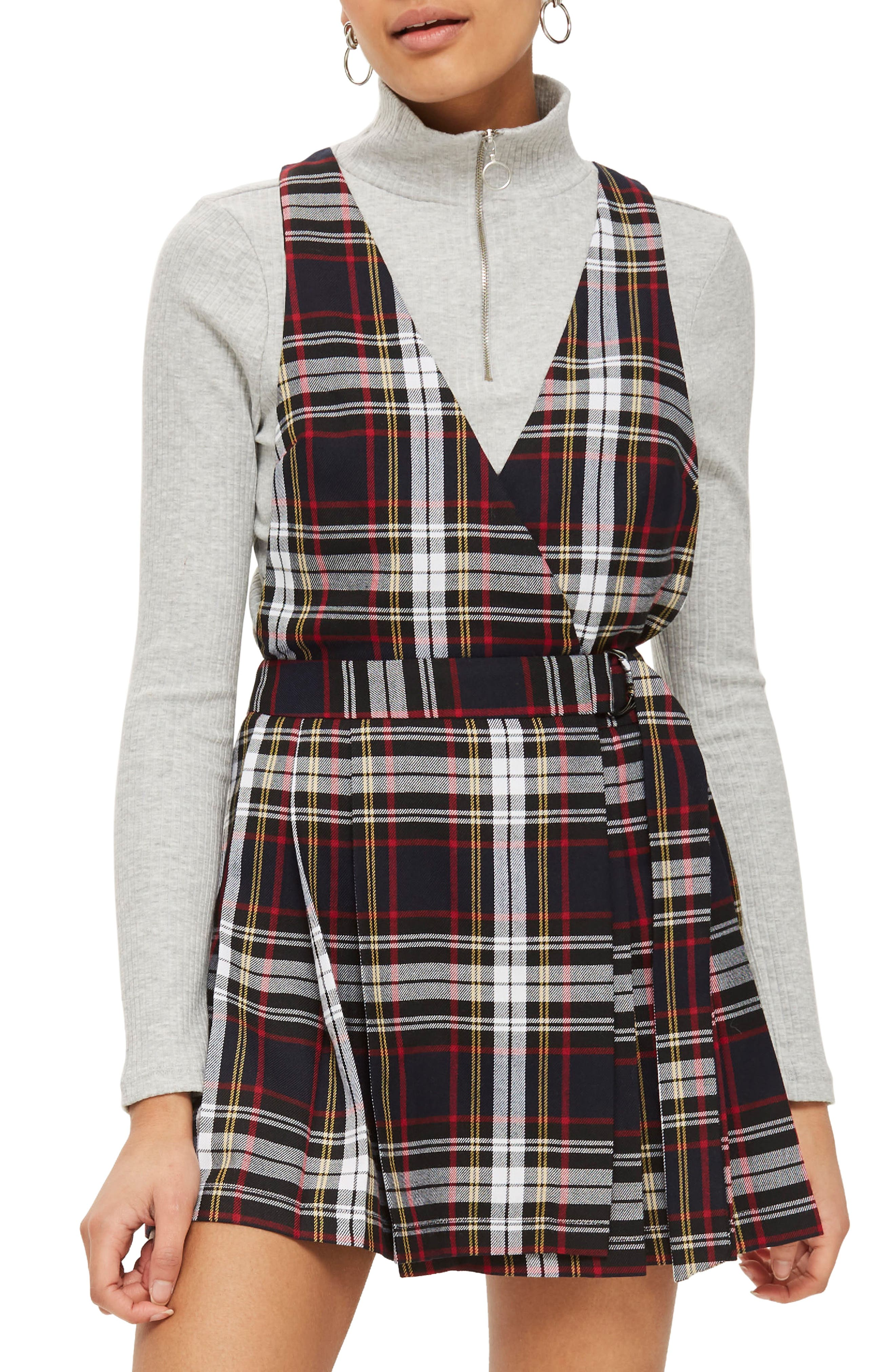 Tartan Pinafore Minidress,                             Main thumbnail 1, color,                             Black Multi