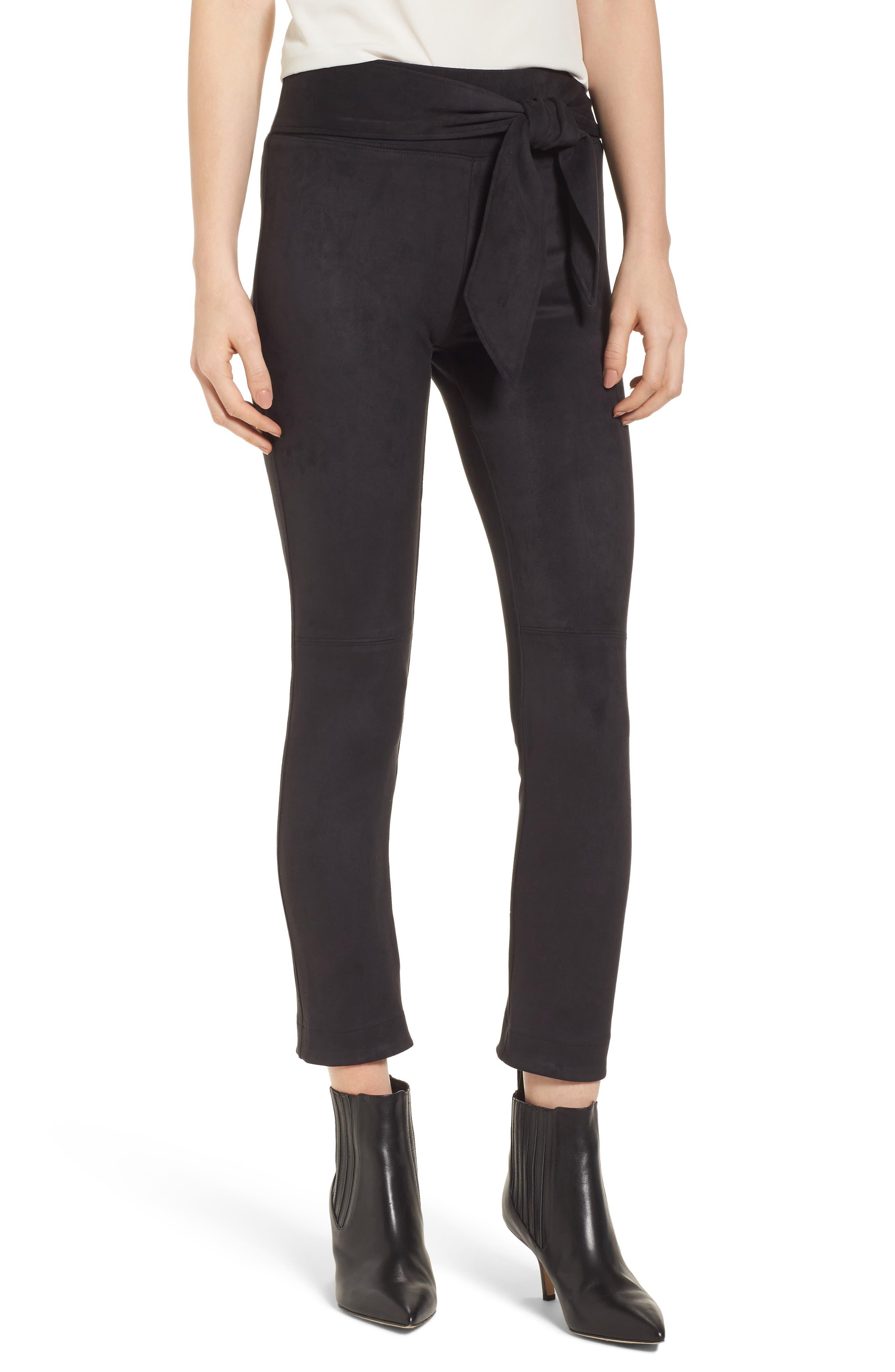 Waist Tie Skimmer Leggings,                         Main,                         color, Black