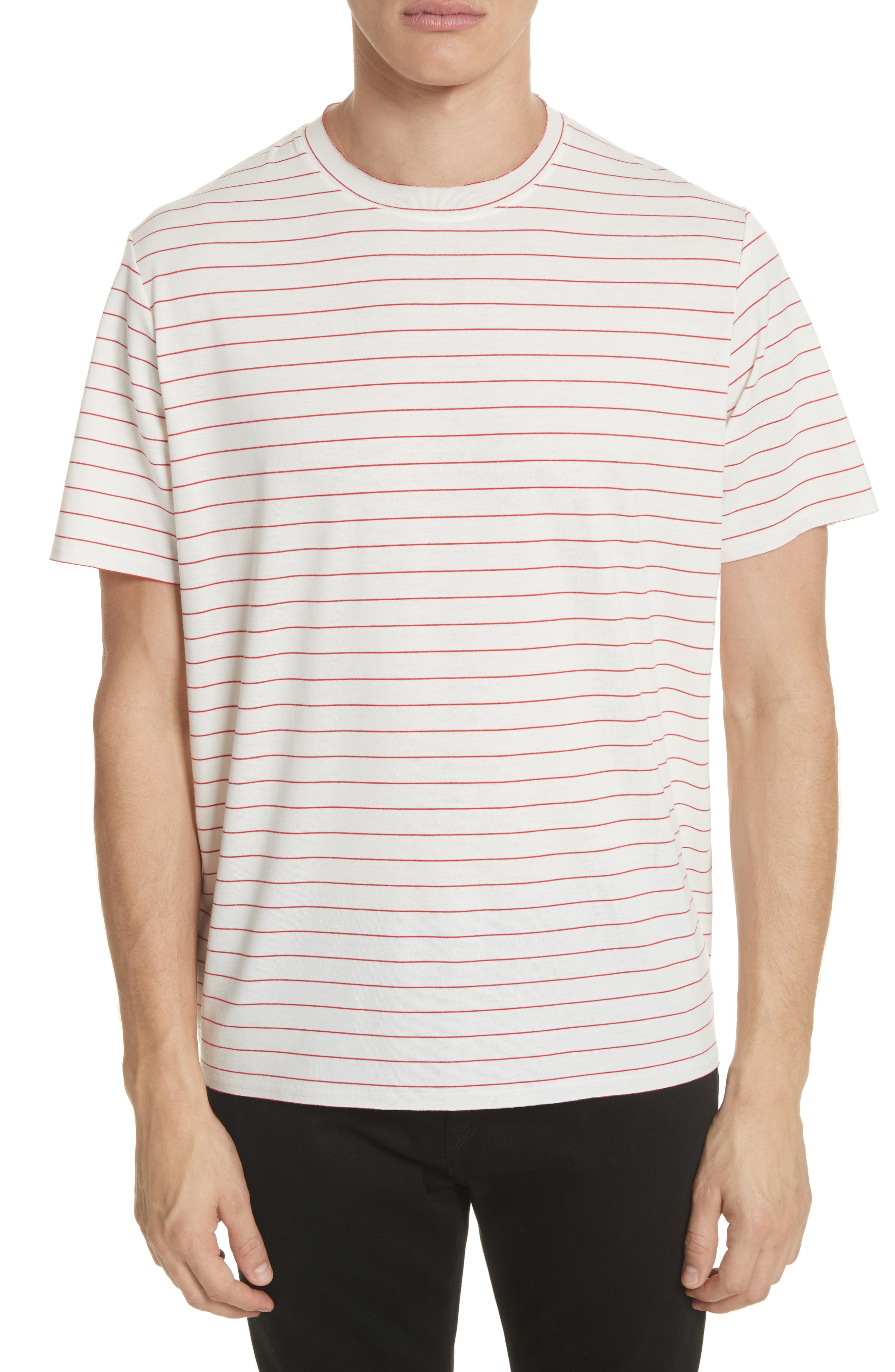 Stripe Crewneck T-Shirt,                         Main,                         color, White/ Red
