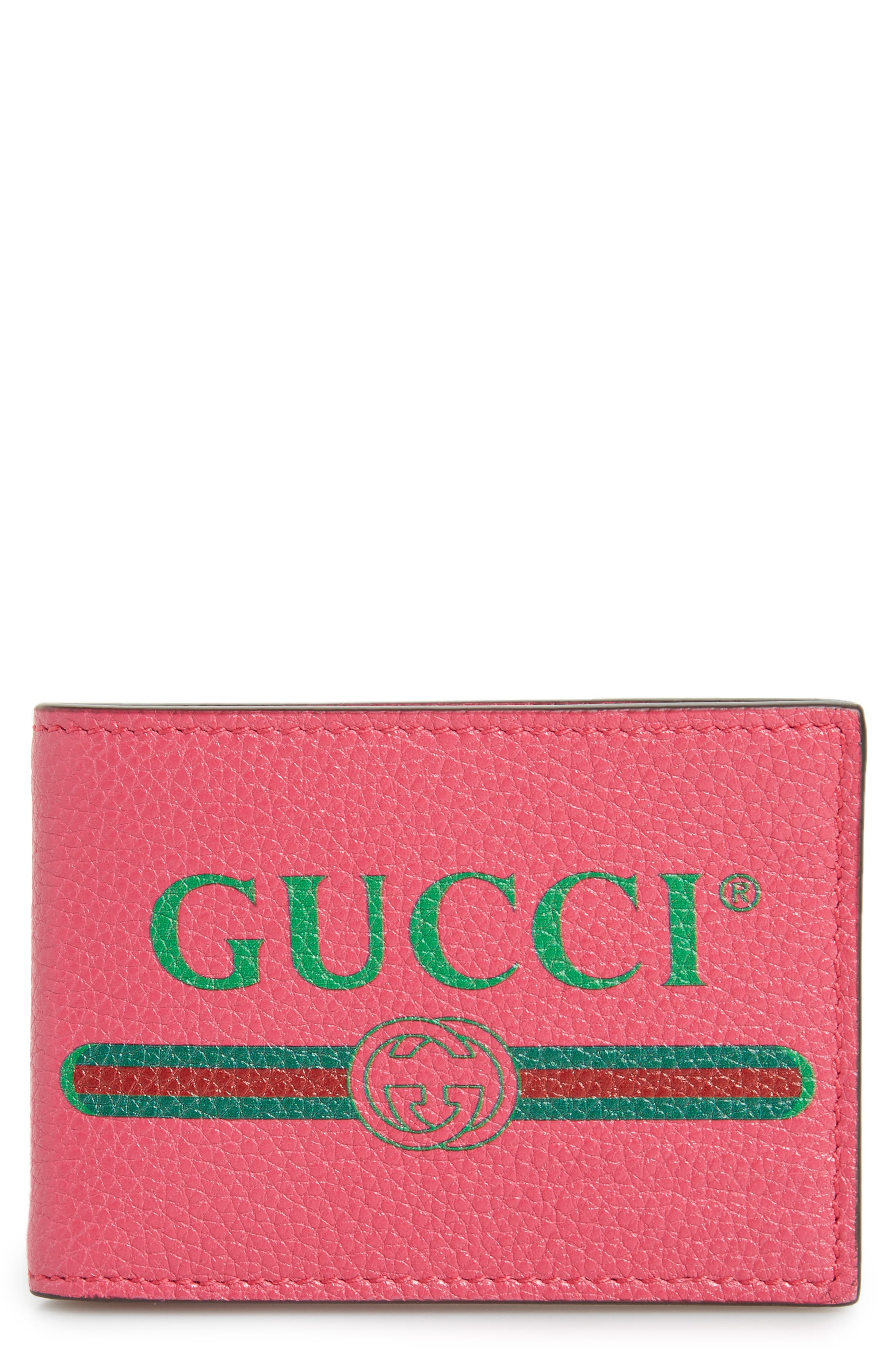 Bifold Leather Wallet,                         Main,                         color, Pink