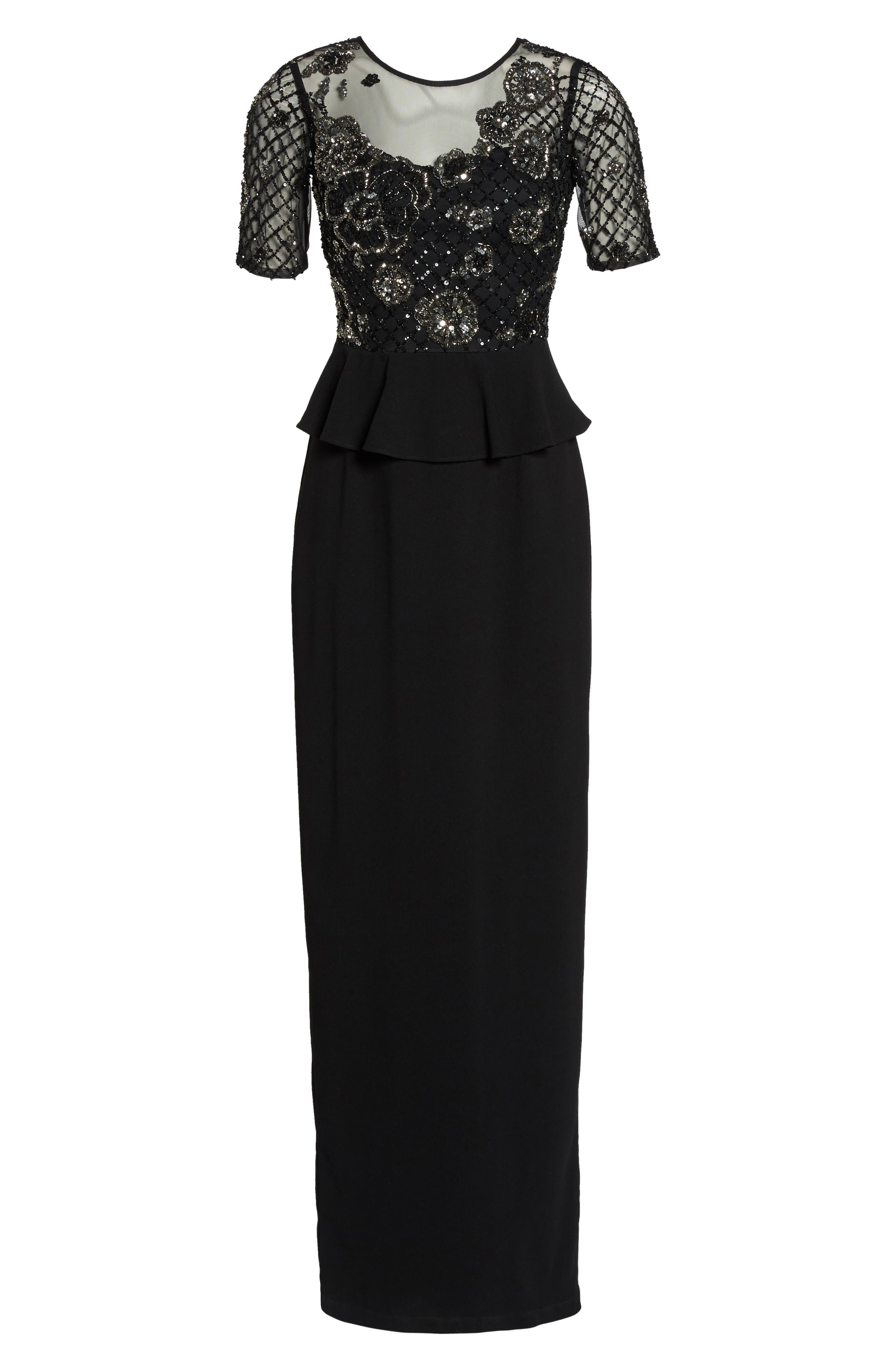 Sequin Peplum Waist Column Gown,                             Alternate thumbnail 6, color,                             Black/ Mercury
