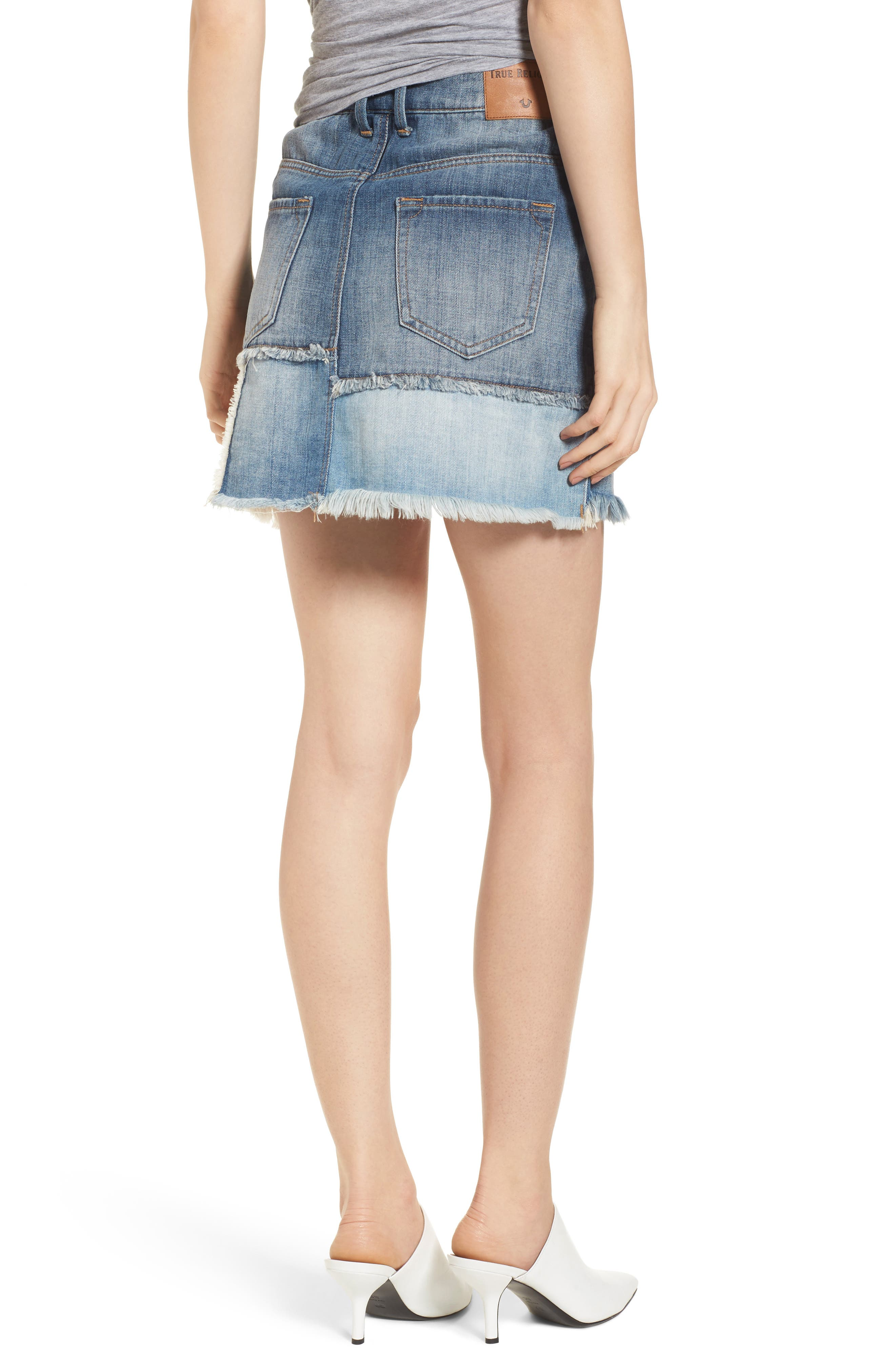 Patchwork Denim Miniskirt,                             Alternate thumbnail 2, color,                             Triple Salute