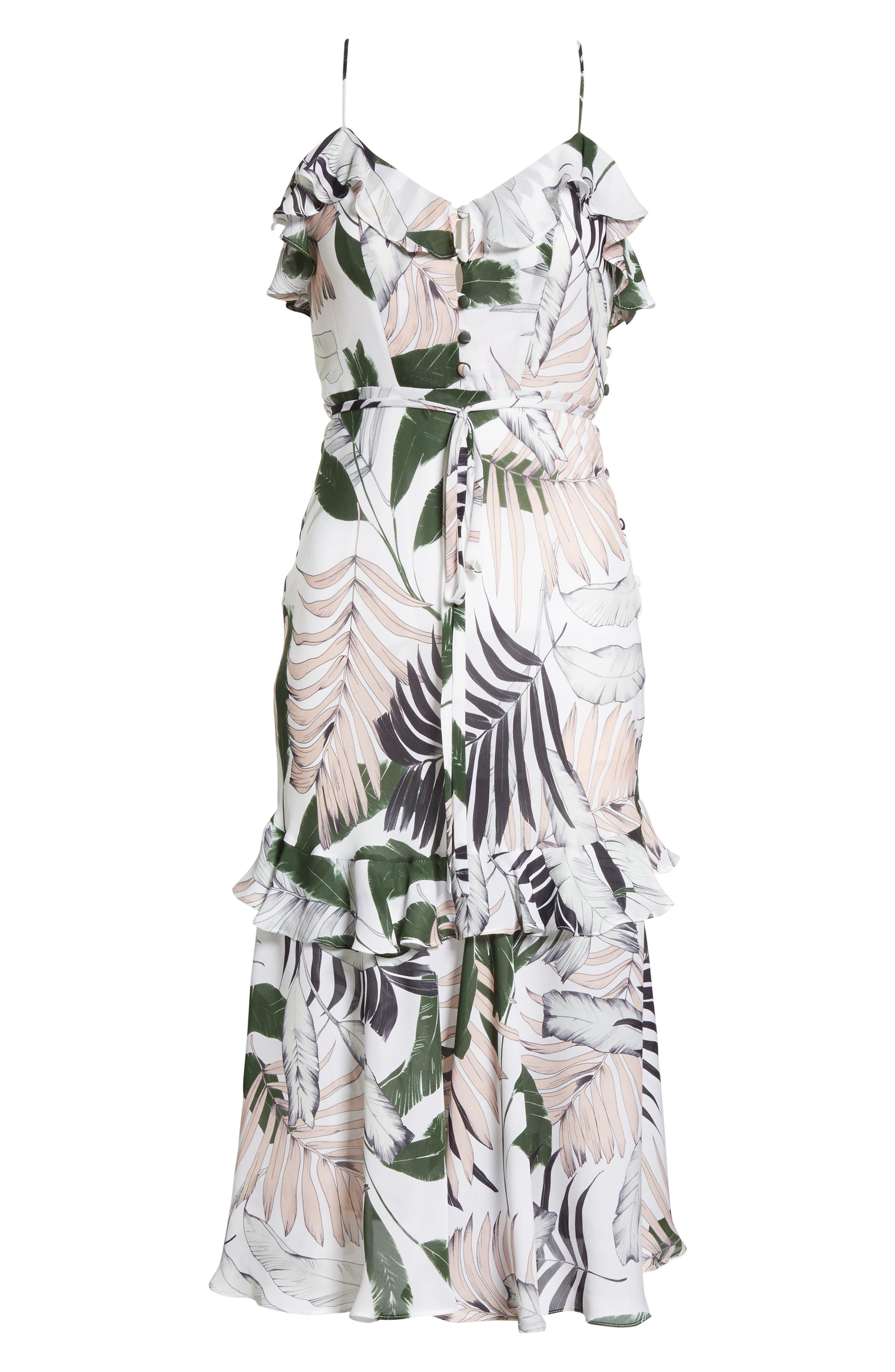 Petal Print Silk Midi Dress,                             Alternate thumbnail 6, color,                             Multi