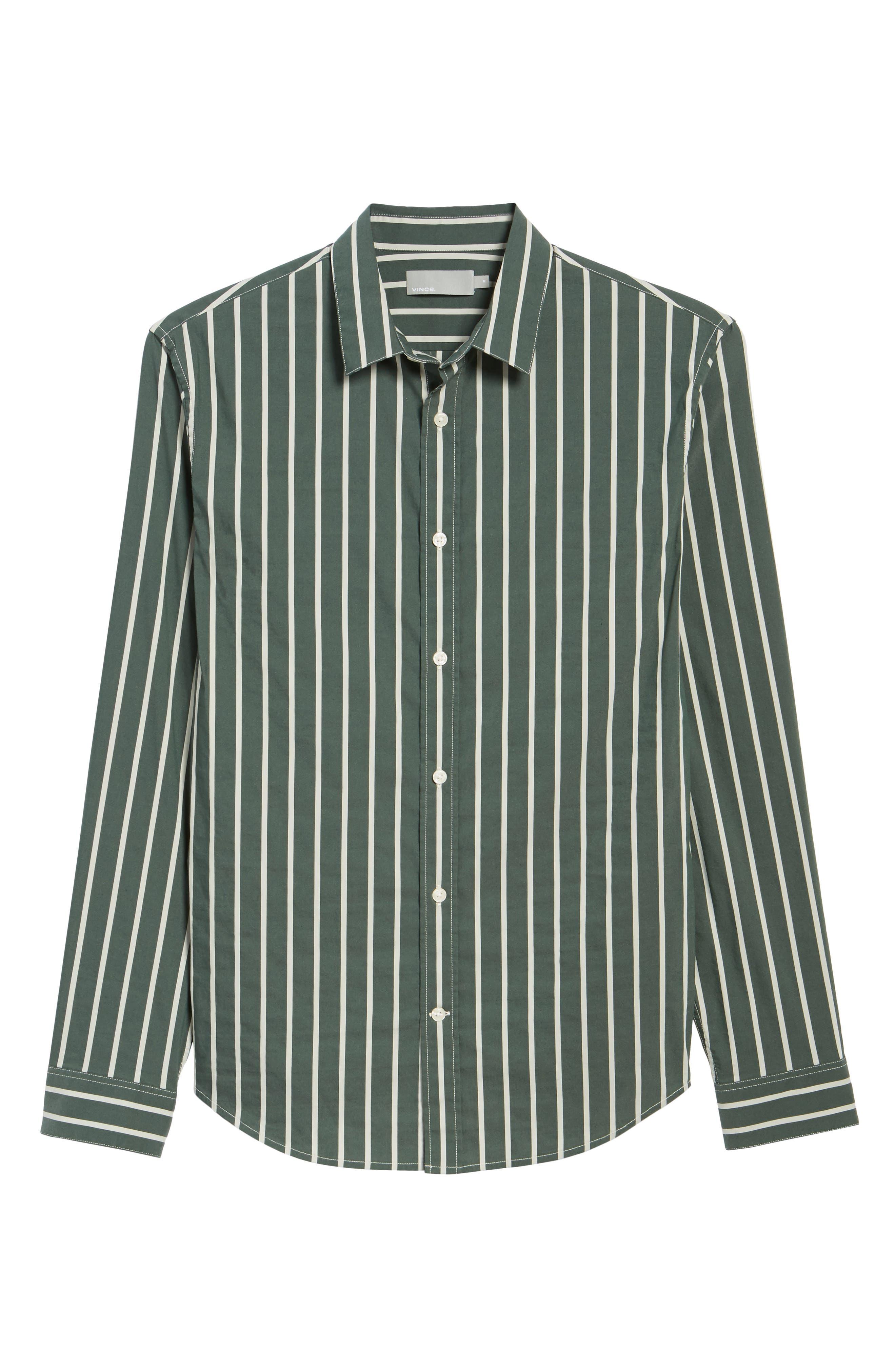 Column Stripe Sport Shirt,                             Alternate thumbnail 6, color,                             Deep Forest