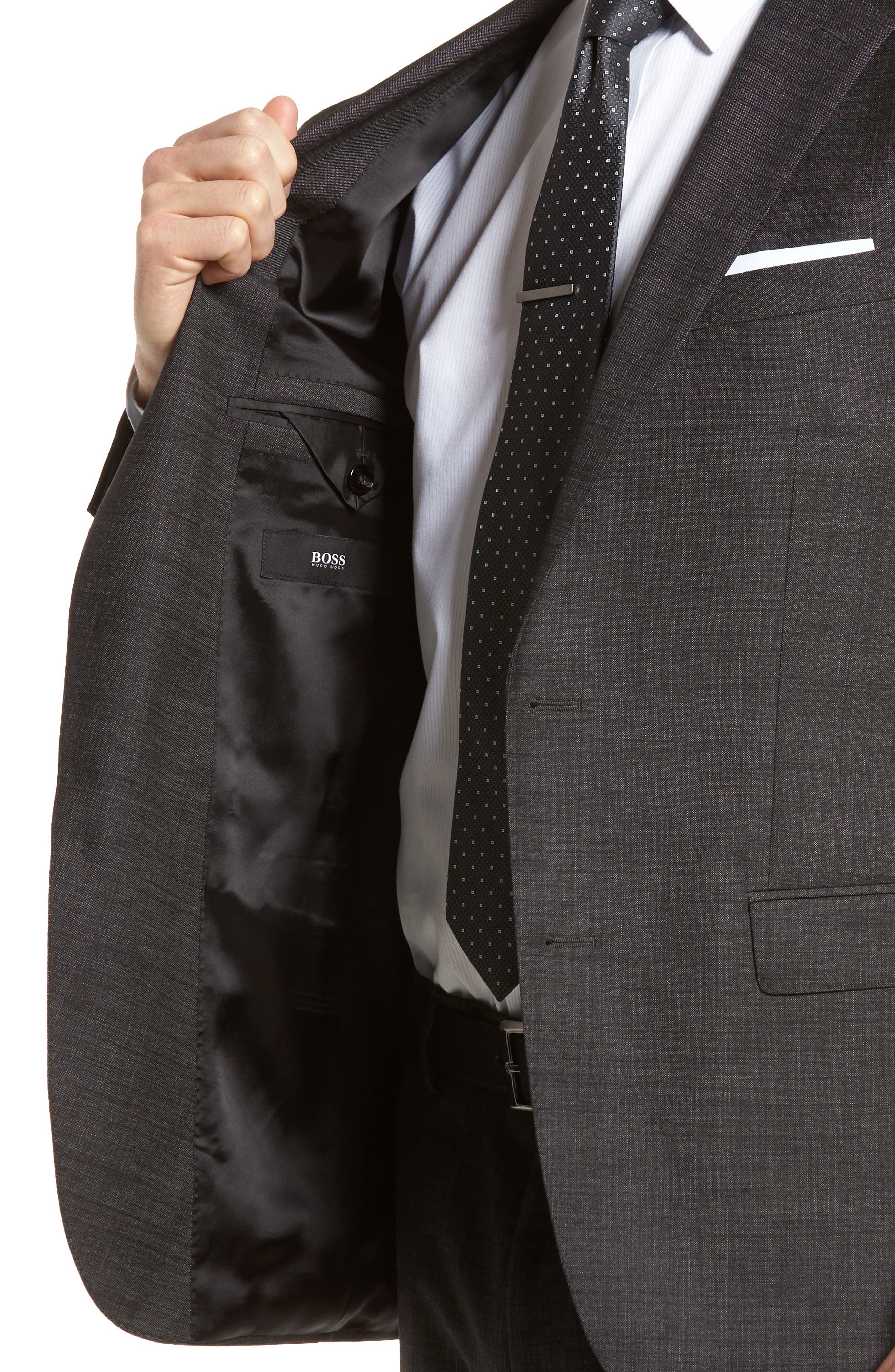 Novan/Ben Trim Fit Solid Wool Suit,                             Alternate thumbnail 6, color,                             Black