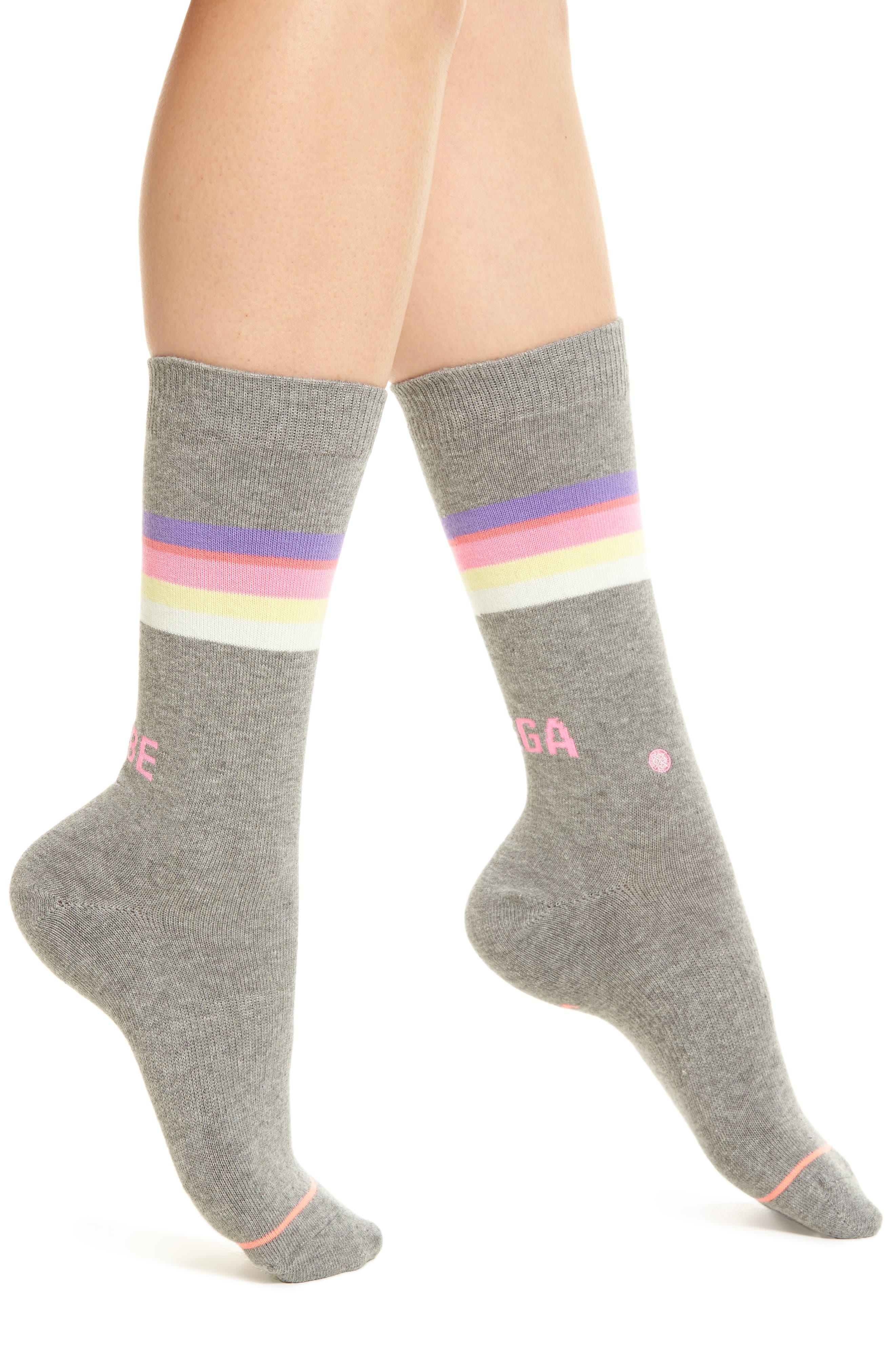 Mega Babe Tomboy Crew Socks,                             Main thumbnail 1, color,                             Grey