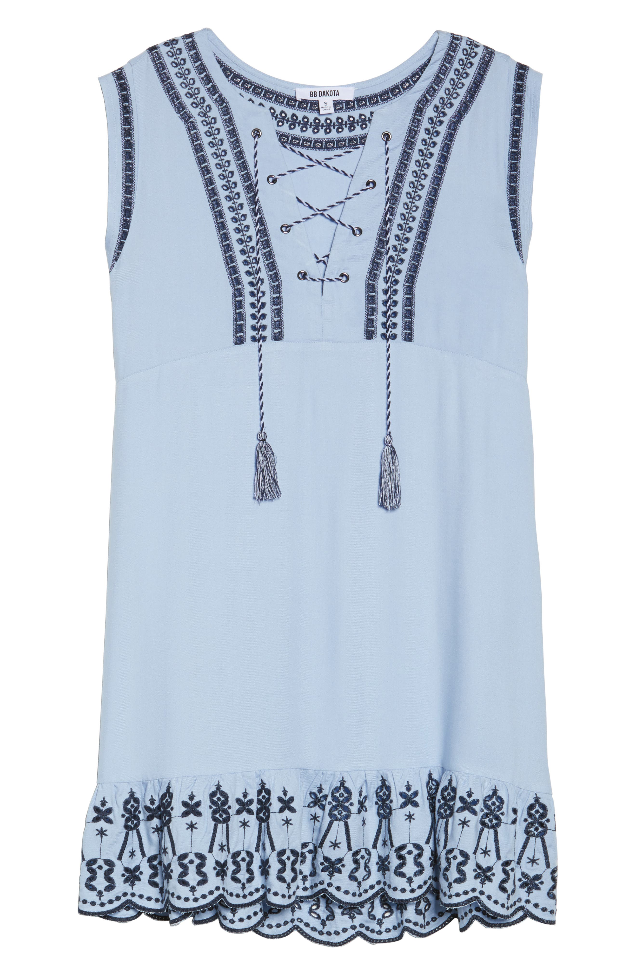 Embroidered Lace-Up Dress,                             Alternate thumbnail 6, color,                             Cyanide
