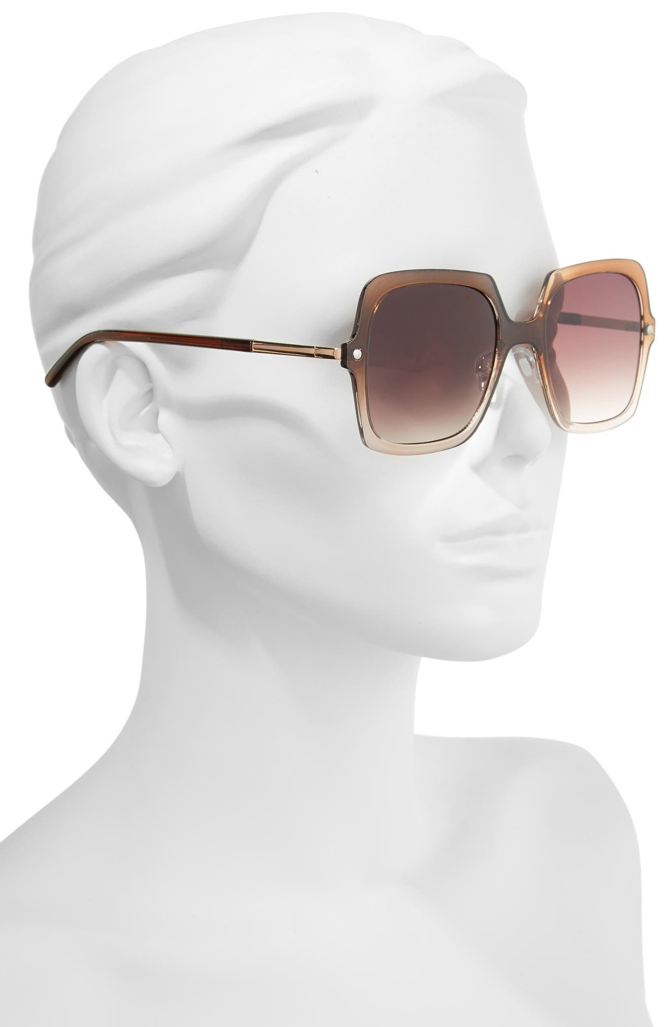 Translucent Square Sunglasses,                             Alternate thumbnail 2, color,                             Ombre Brown