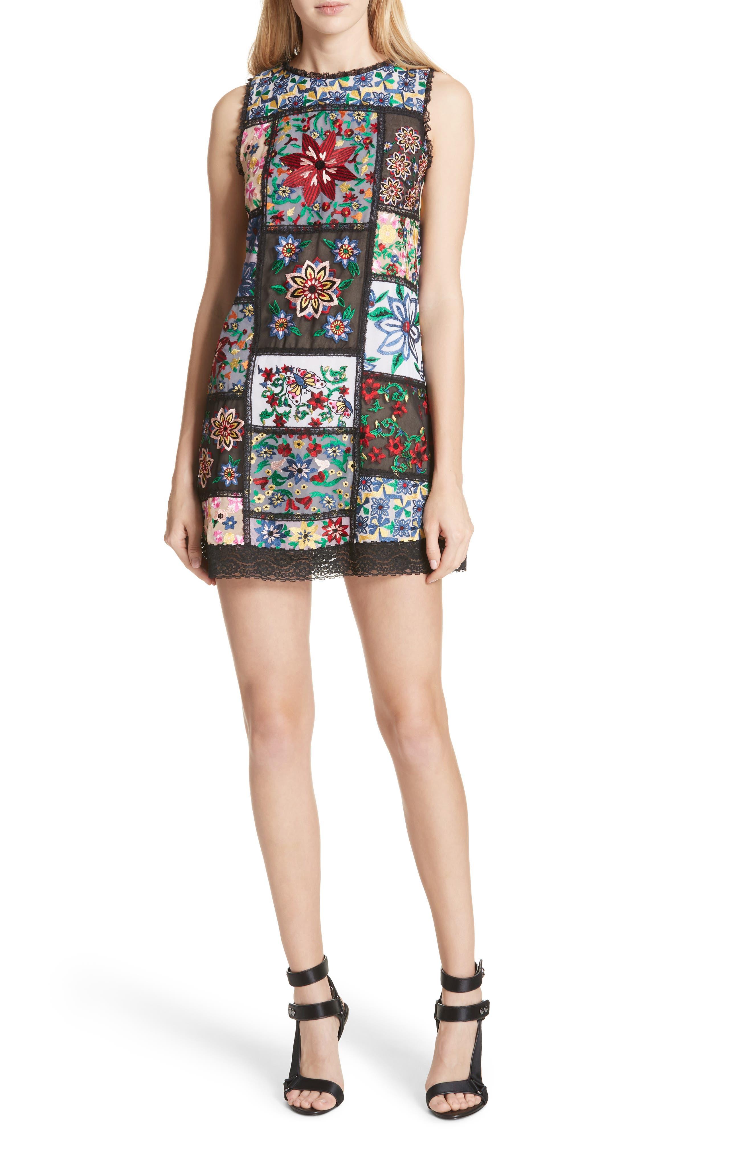 Marcelina Embroidered Mini Dress,                         Main,                         color, Multi