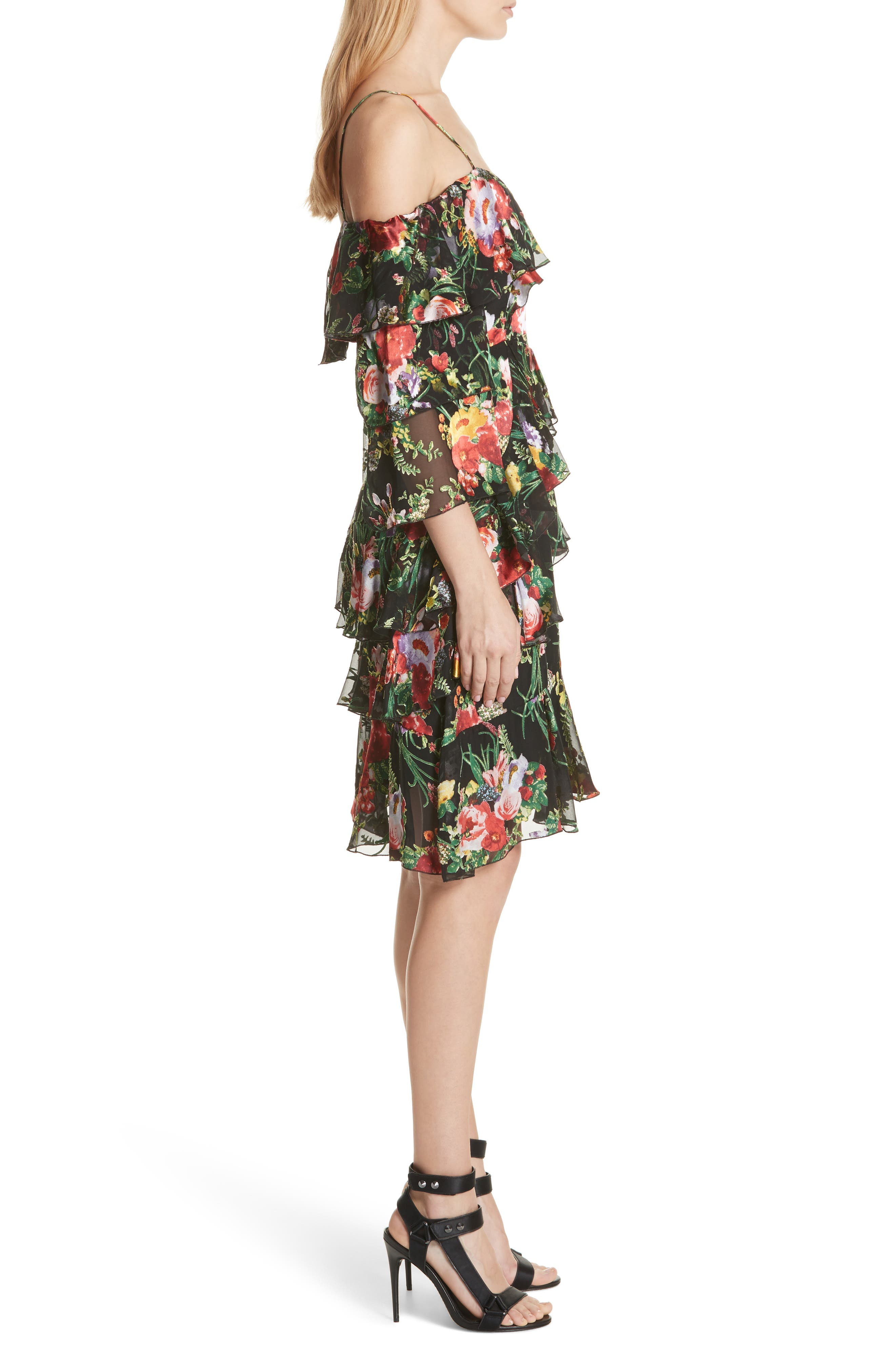 Florentina Off the Shoulder Dress,                             Alternate thumbnail 3, color,                             Blooming Bouquet