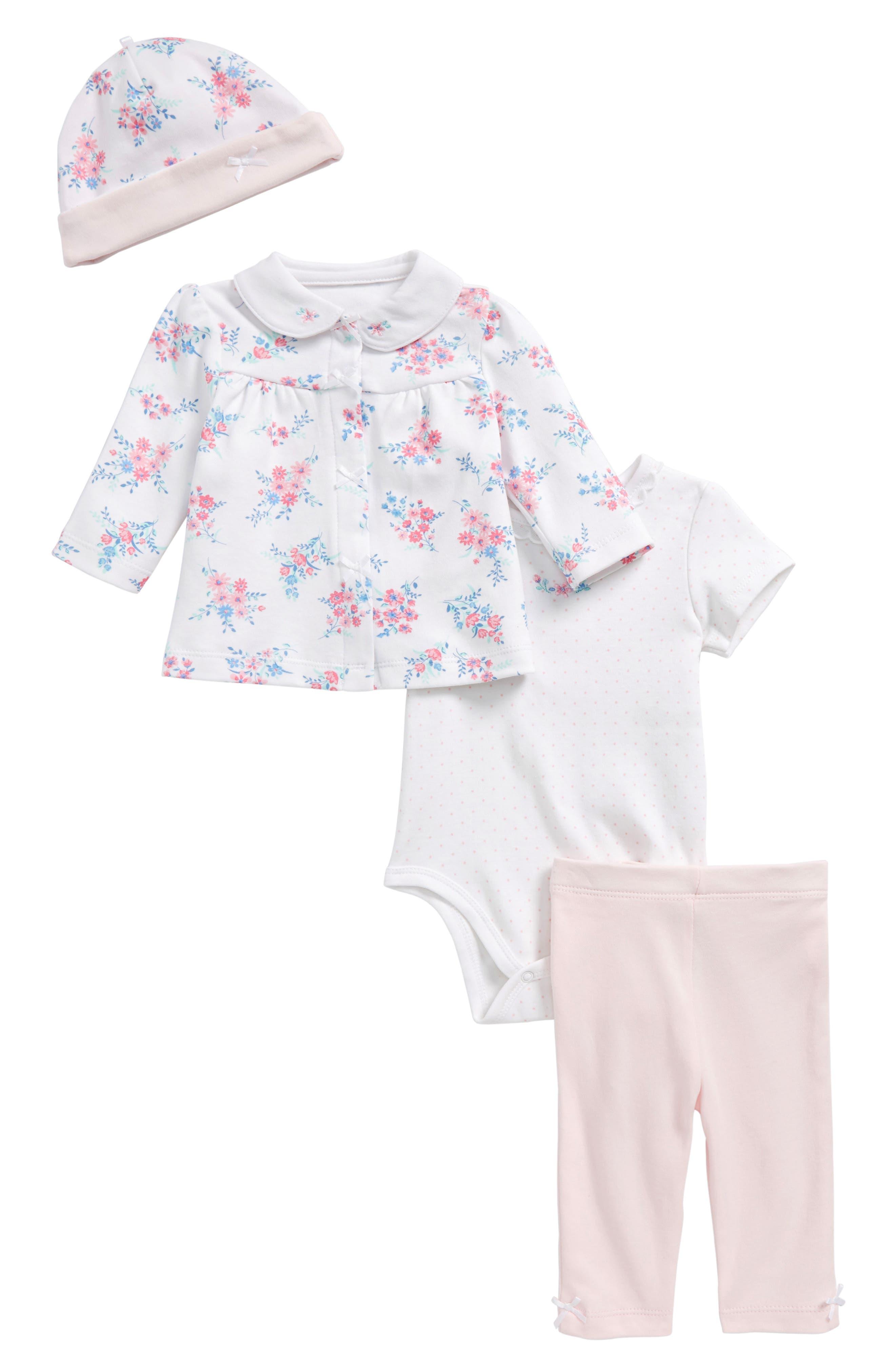 Take Me Home - Garden Jacket, Bodysuit, Leggings & Hat Set,                             Main thumbnail 1, color,                             Pink