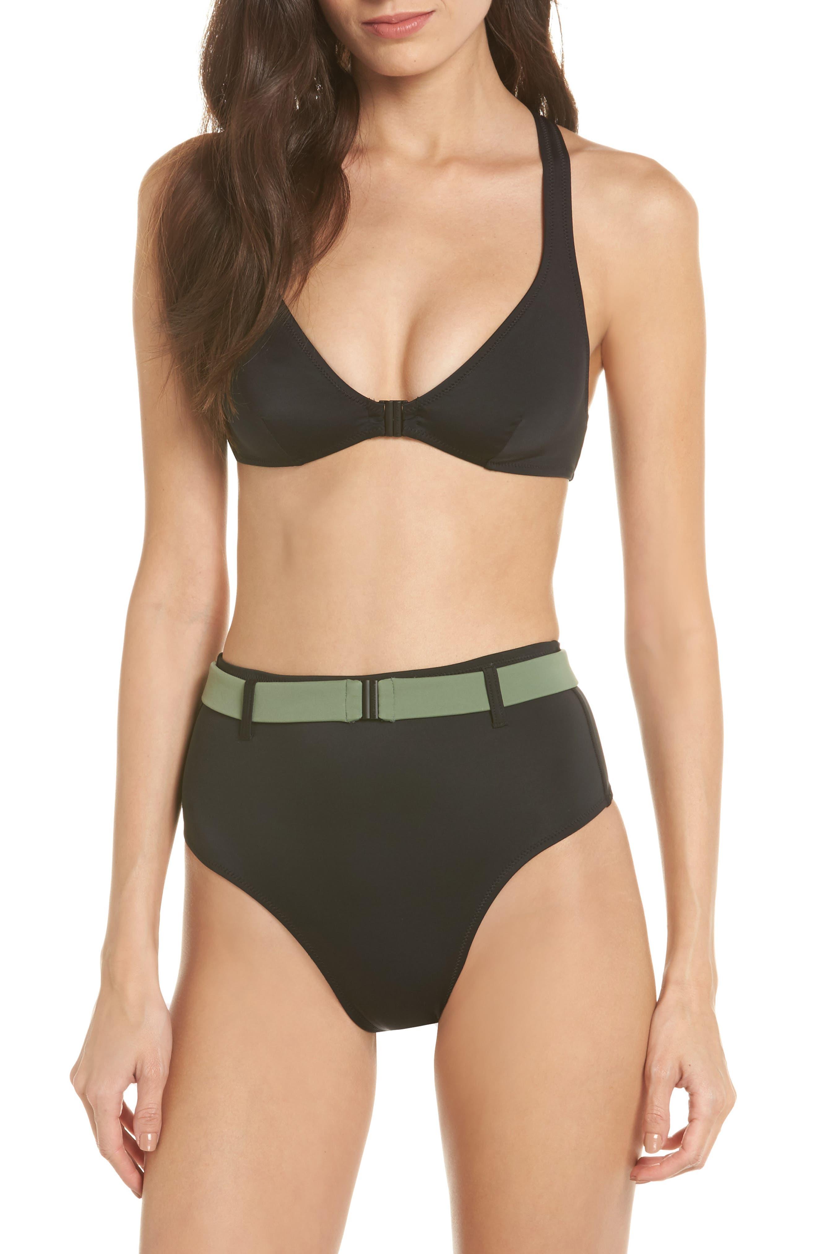 The Josephine High Waist Bikini Bottoms,                             Alternate thumbnail 5, color,                             Black