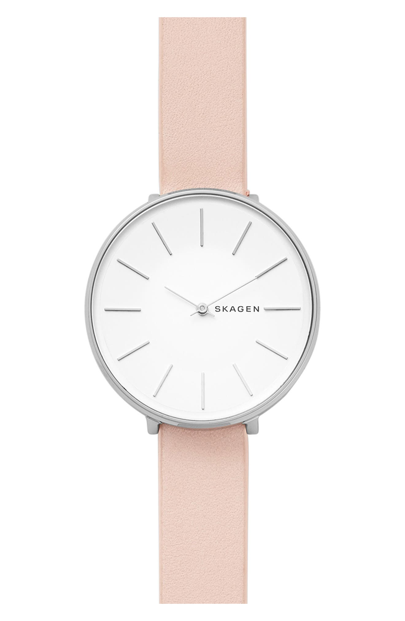 Karolina Leather Strap Watch, 38mm,                         Main,                         color, Pink/ White/ Silver