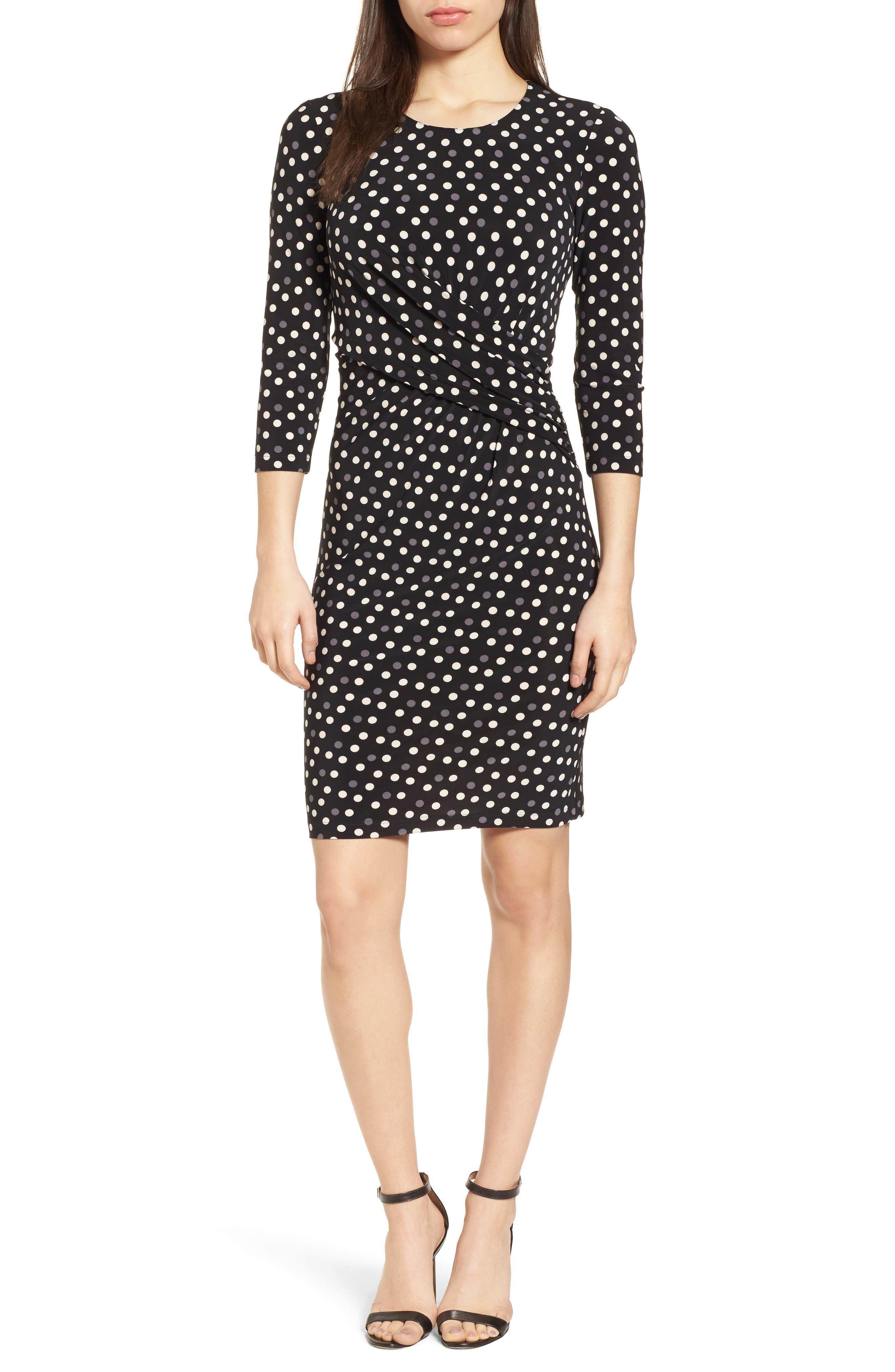 Splashy Dot Twist Waist Dress,                             Main thumbnail 1, color,                             Black/ Parchment Combo
