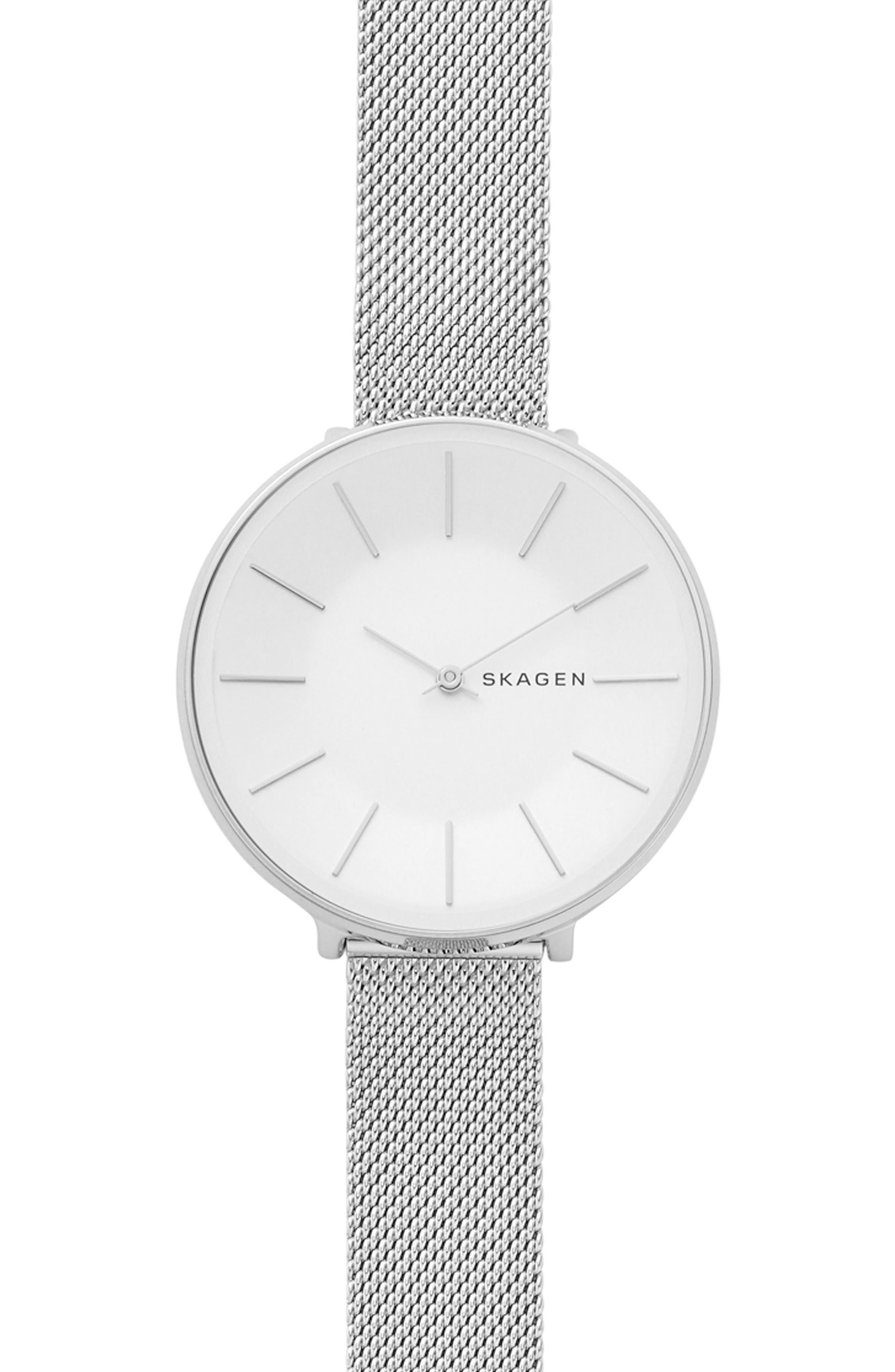 Karolina Mesh Strap Watch, 38mm,                             Main thumbnail 1, color,                             Silver
