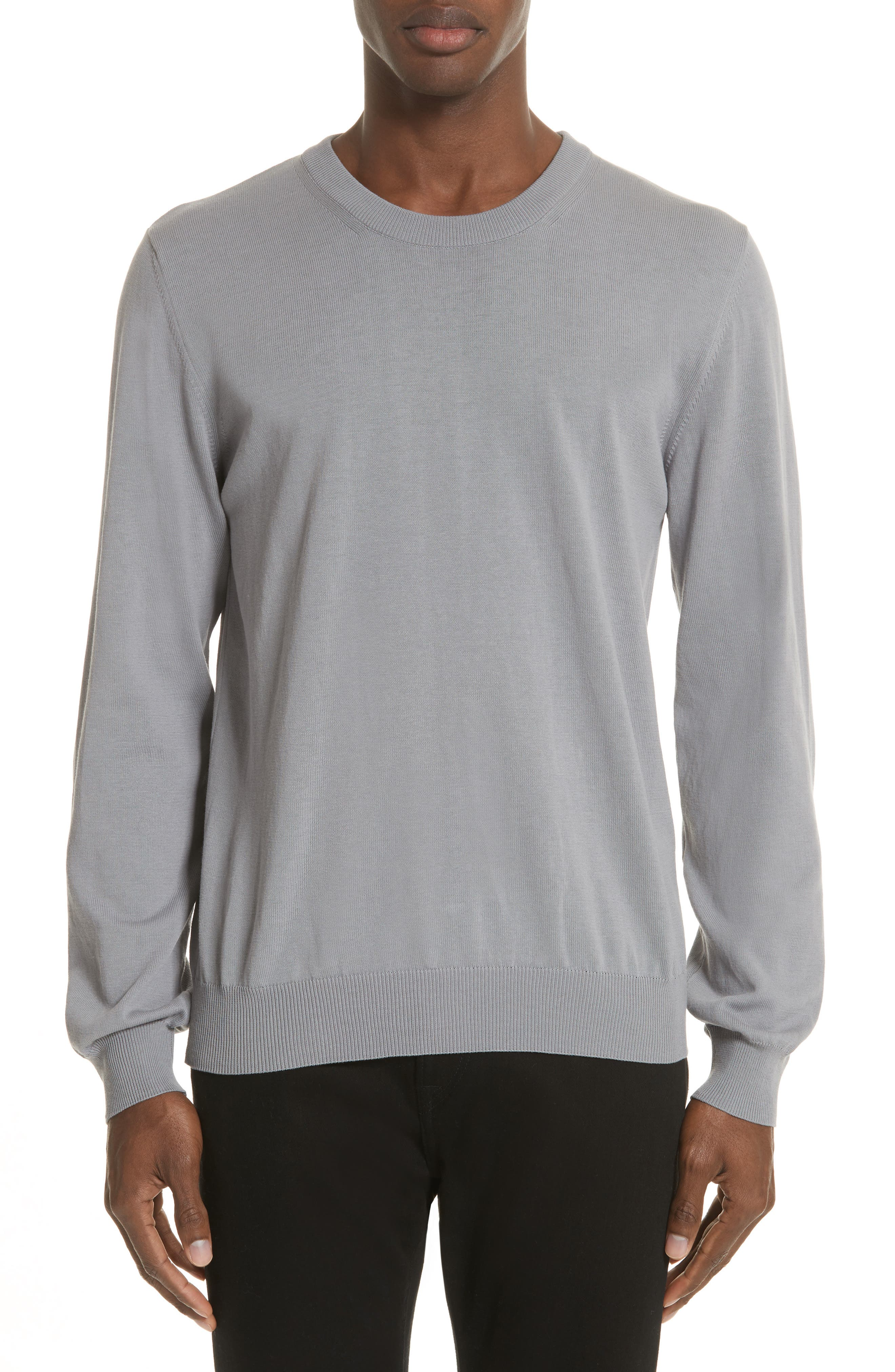 Jersey Cotton Sweater with Elbow Patches,                         Main,                         color, Grey