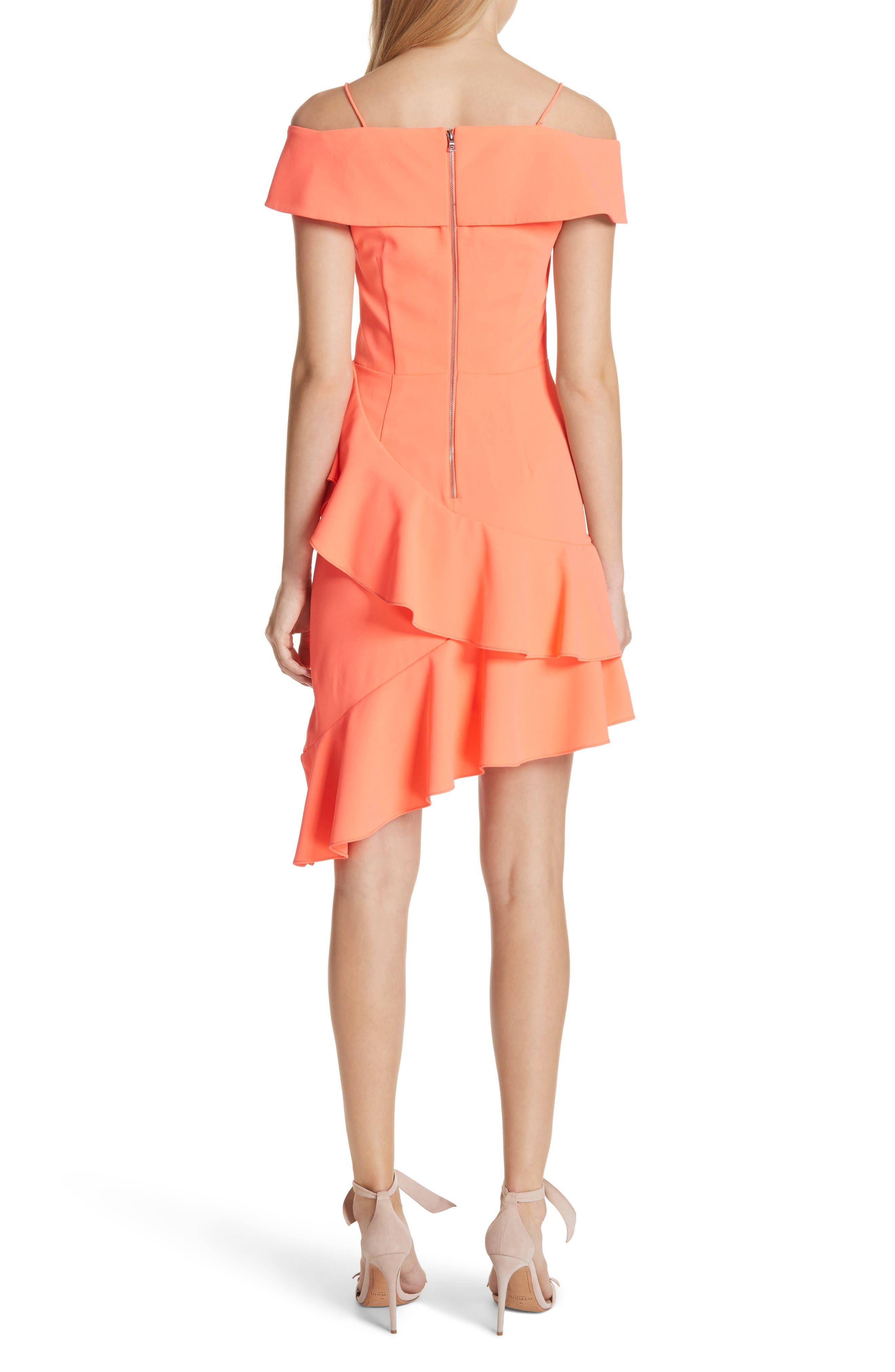 Vita Cold Shoulder Dress,                             Alternate thumbnail 2, color,                             Neon Coral
