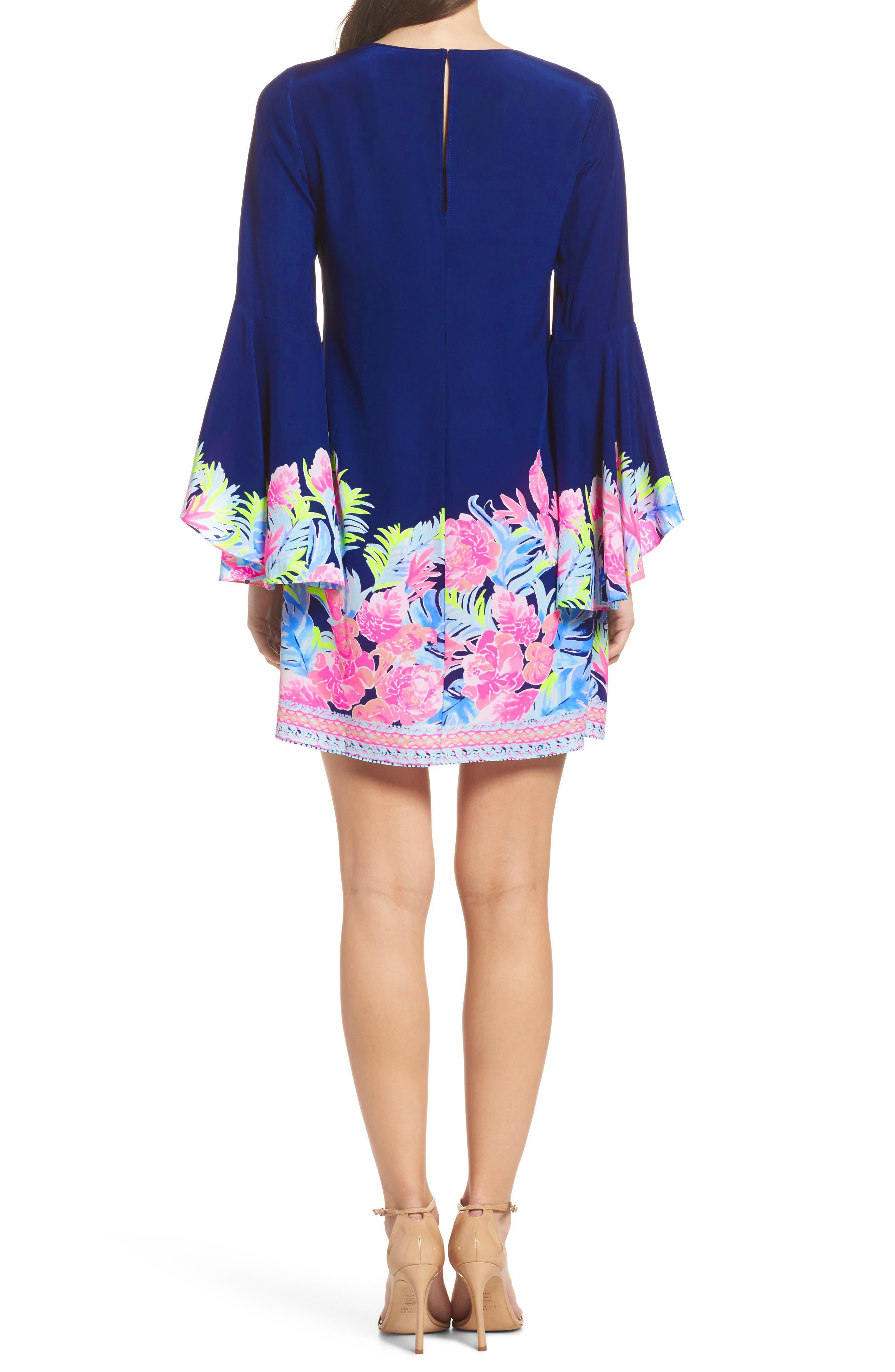 Rosalia Bell Sleeve Silk A-Line Dress,                             Alternate thumbnail 2, color,                             High Tide Tropicolada