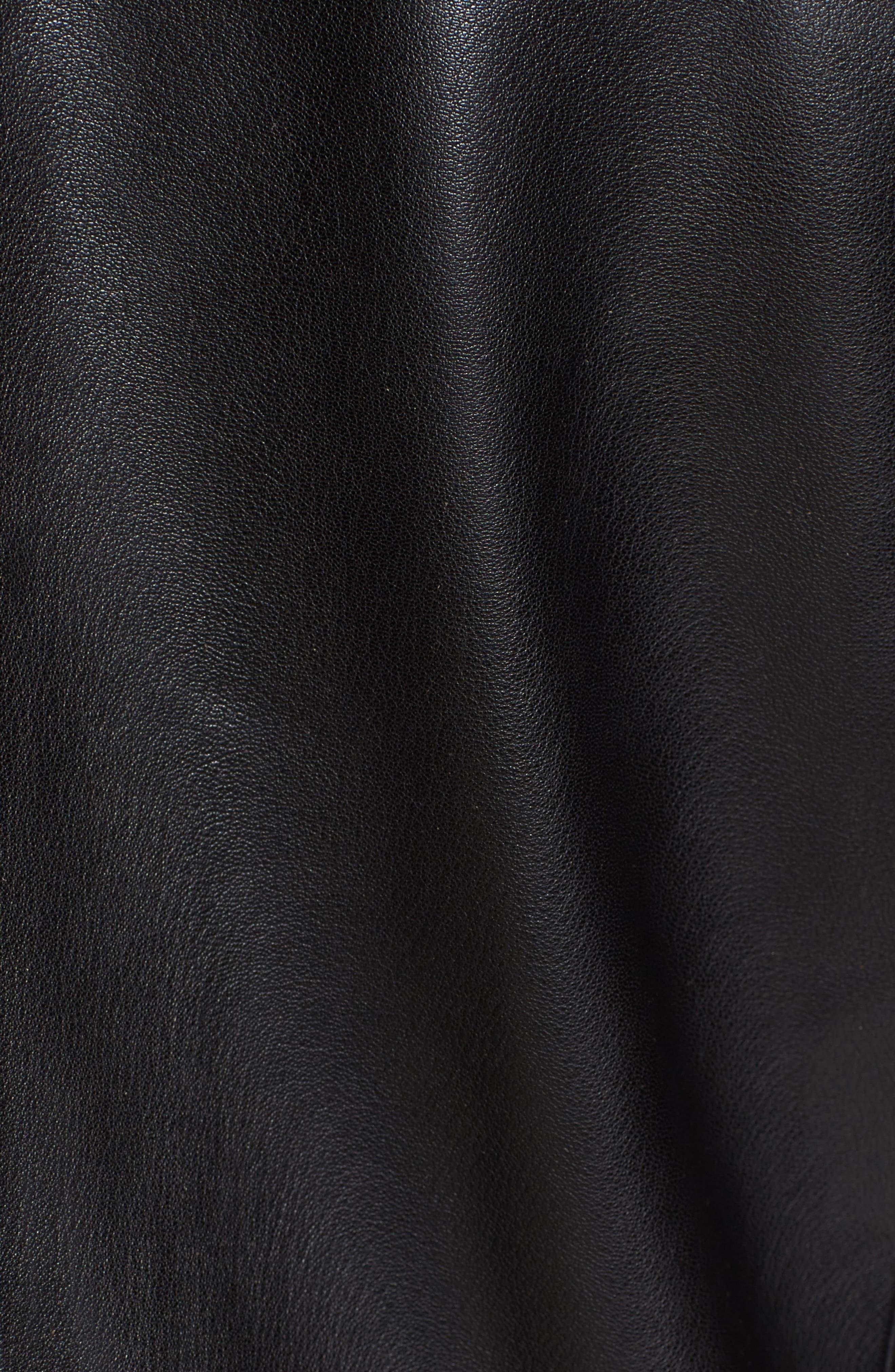 Washed Leather Jacket,                             Alternate thumbnail 4, color,                             Black