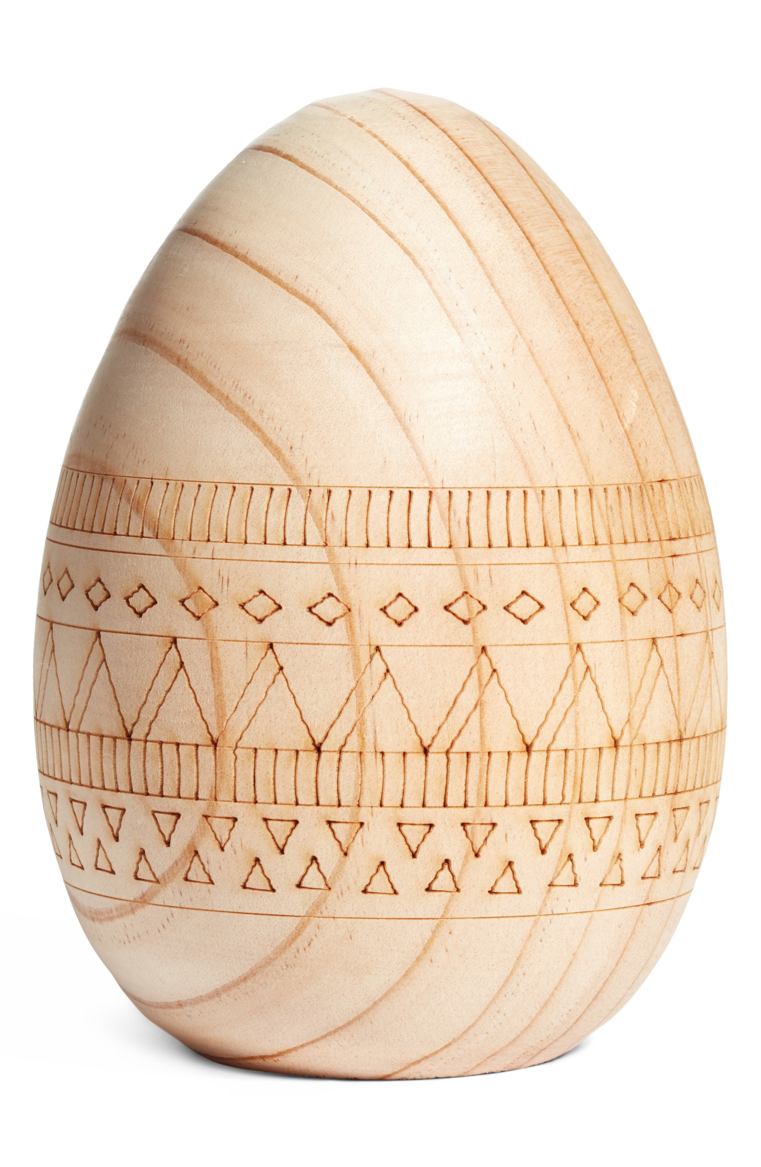 ACCENT DECOR Loco Egg Carved Wooden Egg