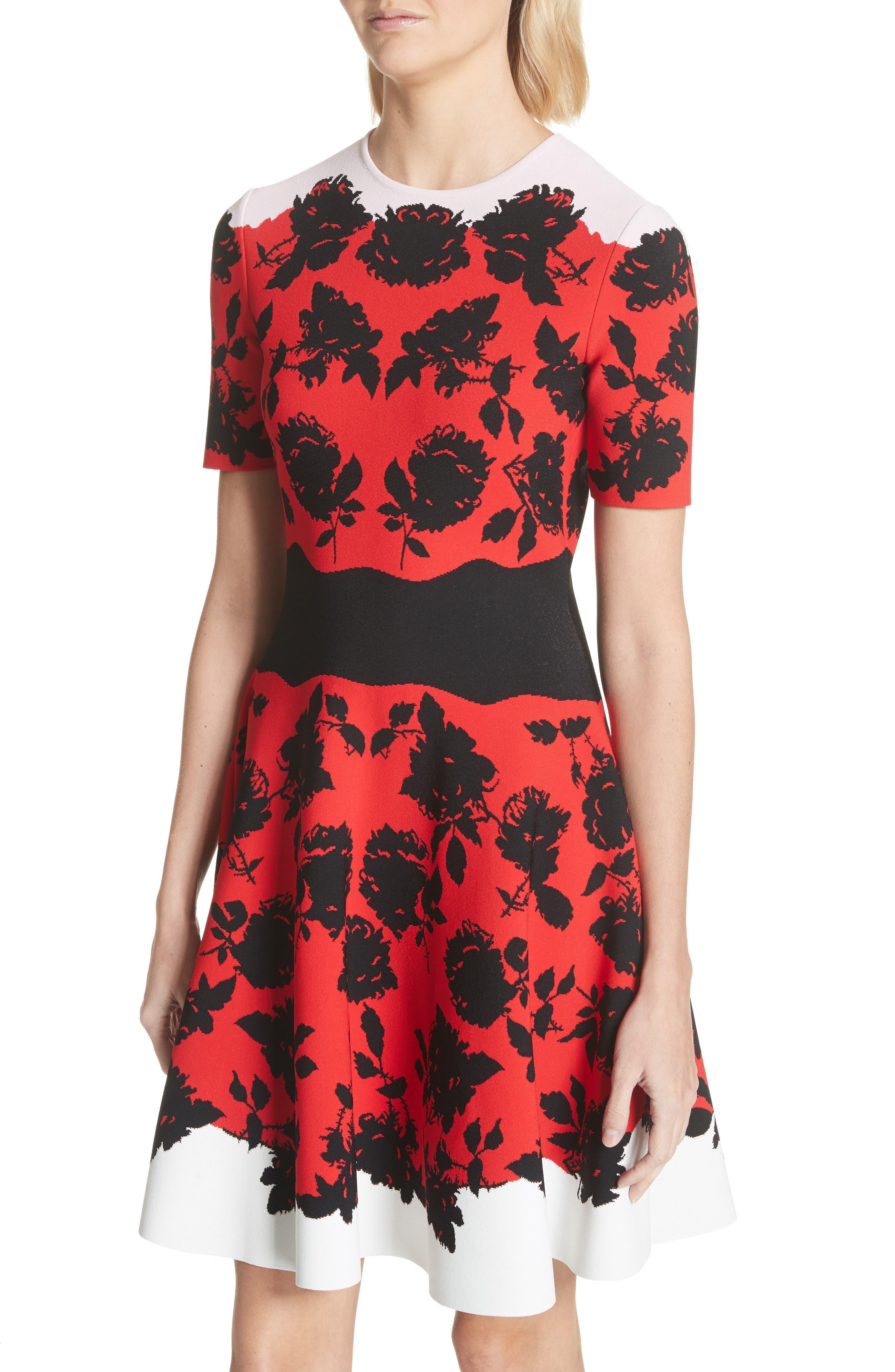 Rose Jacquard Knit Flounce Dress,                             Alternate thumbnail 4, color,                             Red/ Black/ Ivory/ Pink