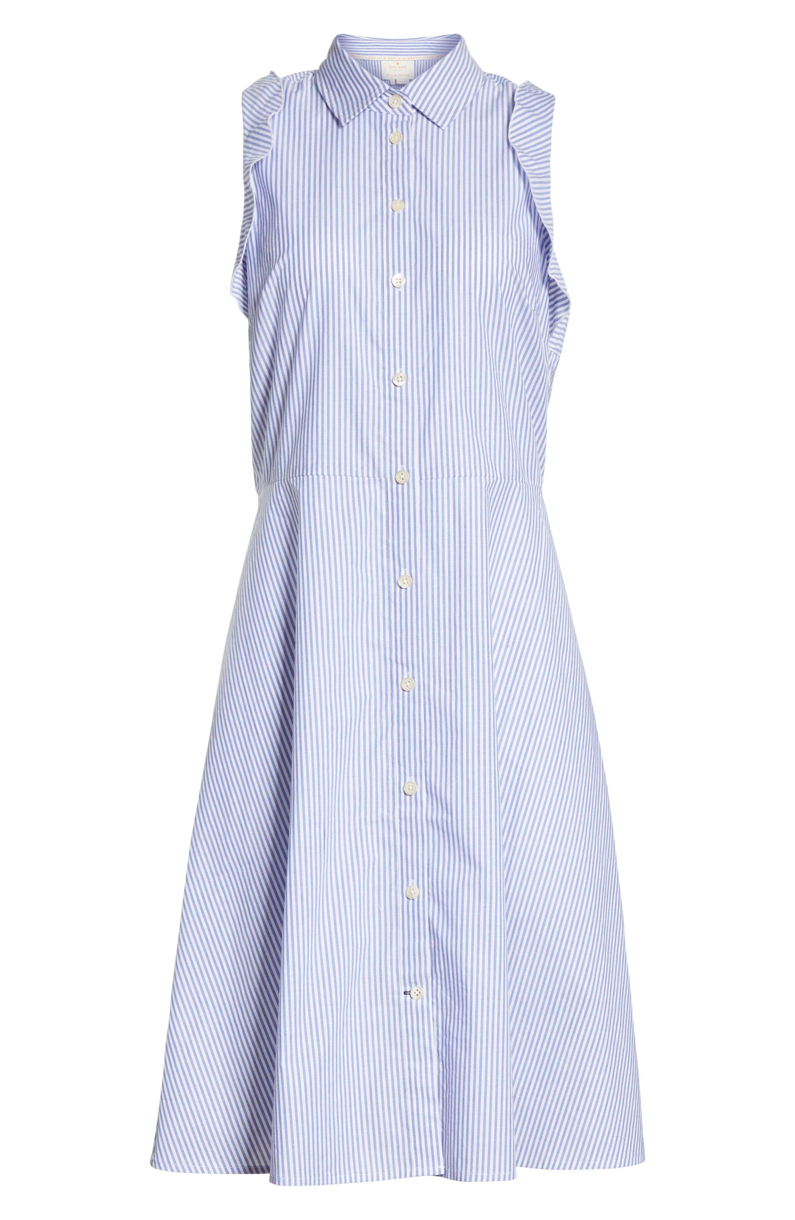 ruffled stripe poplin shirtdress,                             Alternate thumbnail 6, color,                             Fresh White/ Rich Lapis