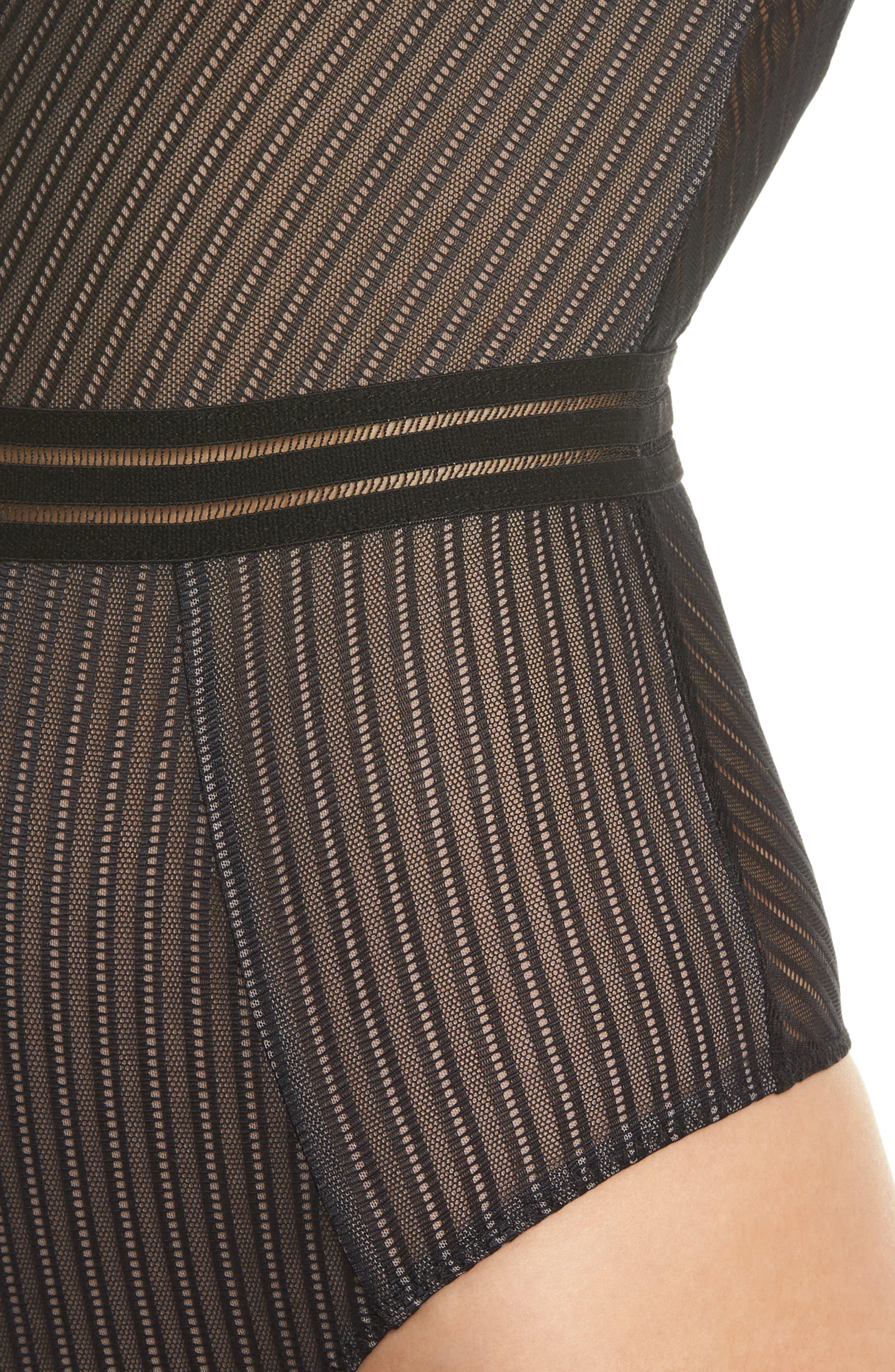 Arabella Thong Bodysuit,                             Alternate thumbnail 5, color,                             Black