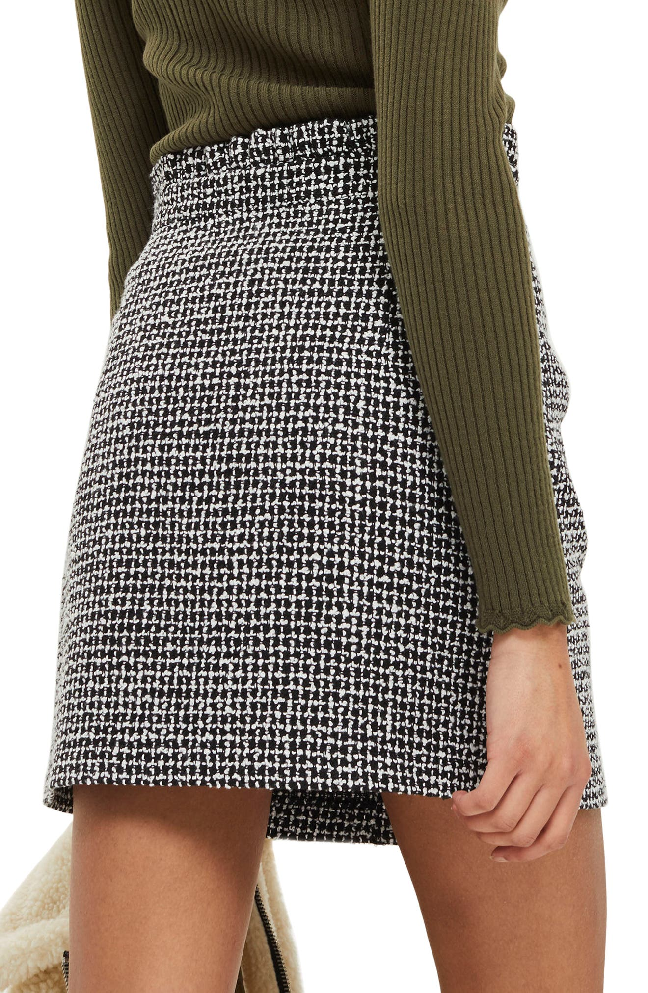 Frill Waist Bouclé Skirt,                             Alternate thumbnail 2, color,                             Black Multi