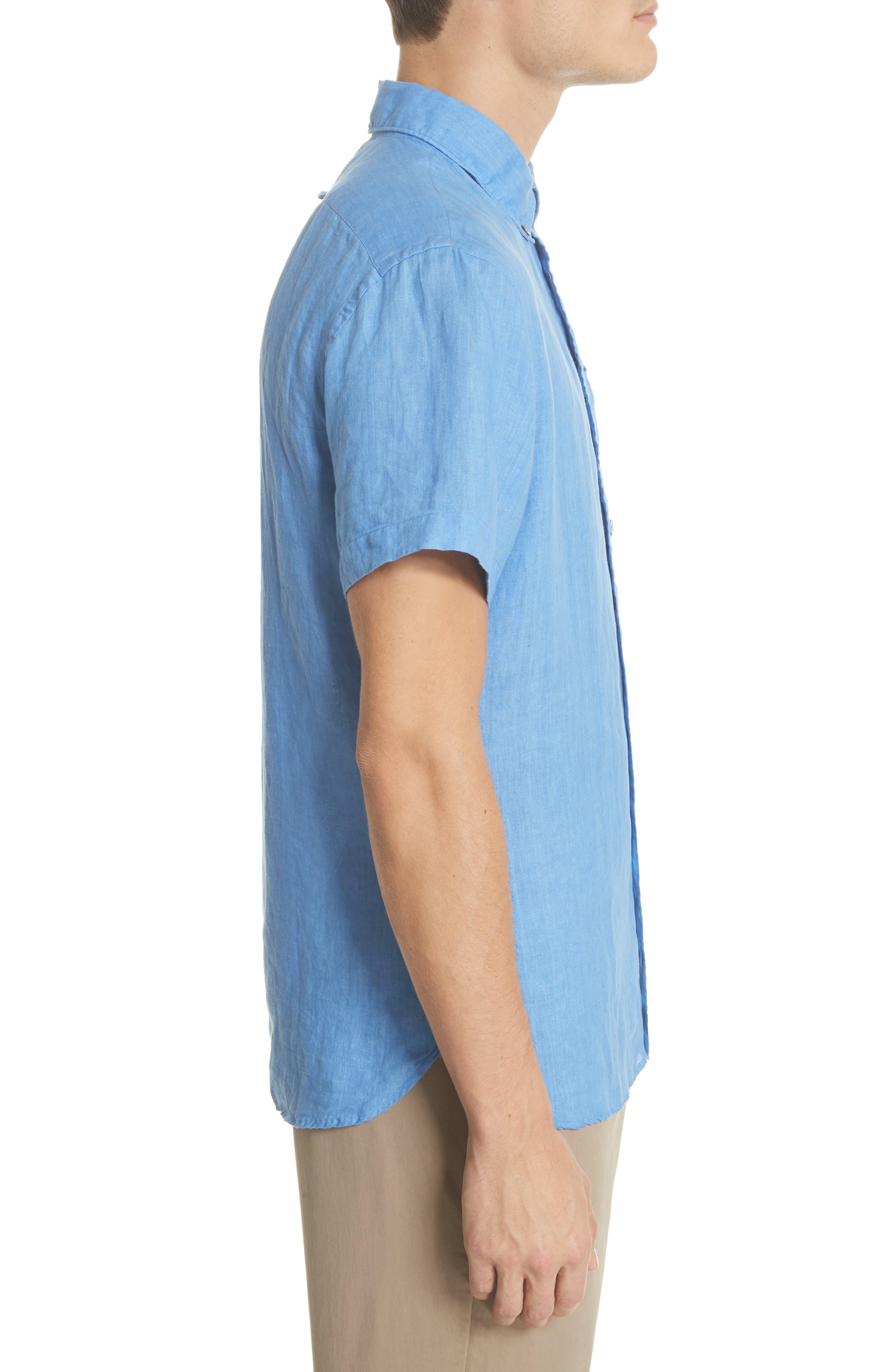 Short Sleeve Woven Linen Shirt,                             Alternate thumbnail 3, color,                             Blue