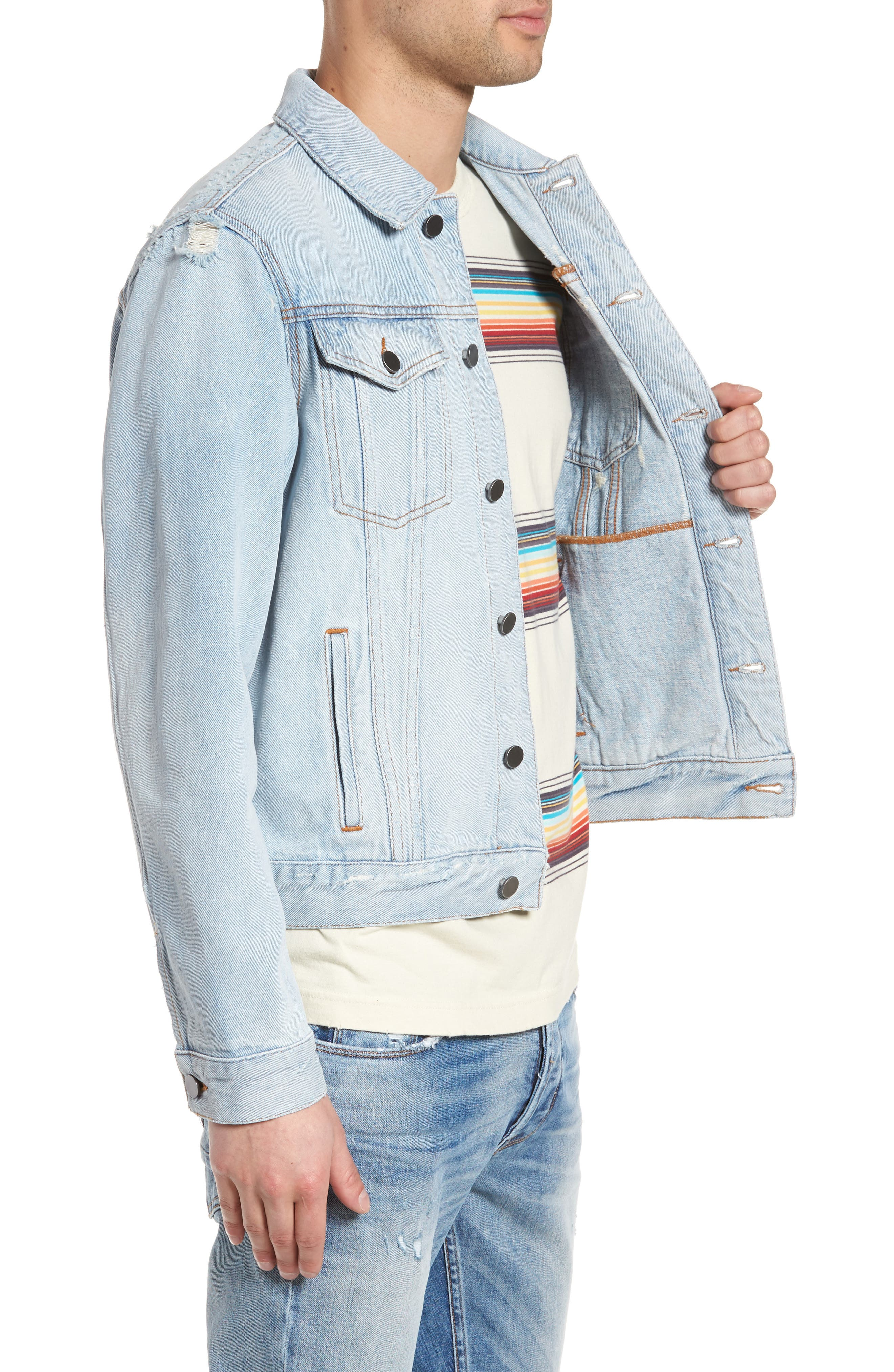 Destroyed Trucker Jacket,                             Alternate thumbnail 3, color,                             Light Blue Wash