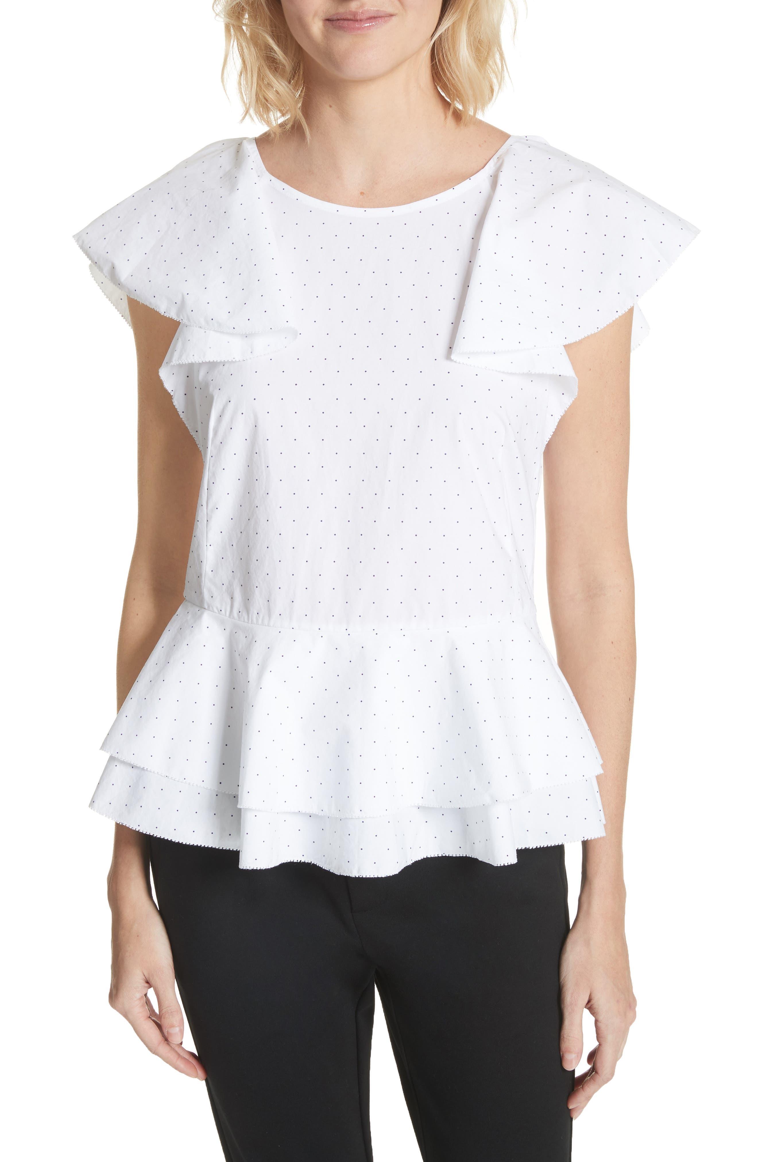 Achava Peplum Top,                         Main,                         color, Clean White