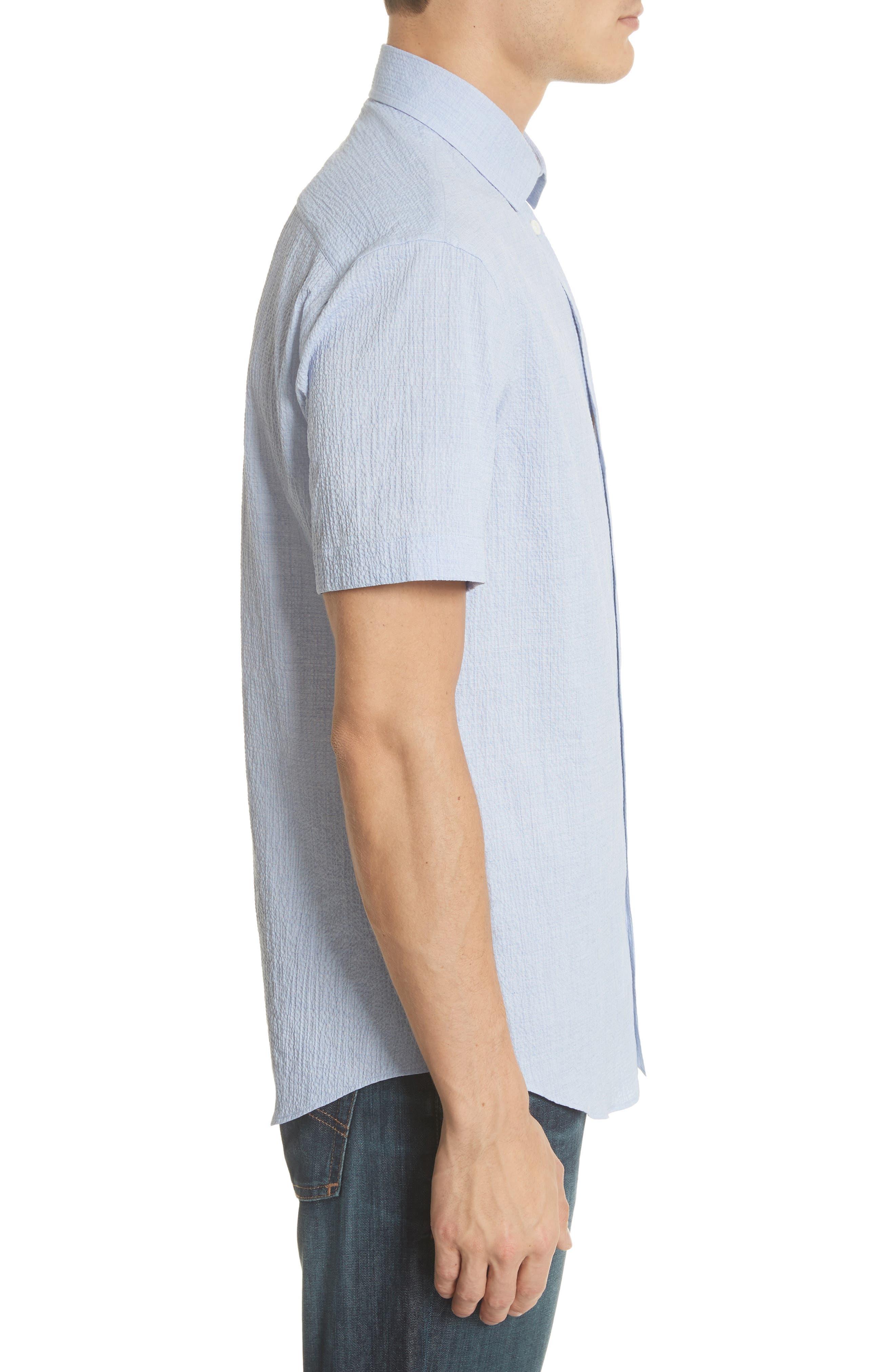 Regular Fit Seersucker Sport Shirt,                             Alternate thumbnail 4, color,                             Light Azure