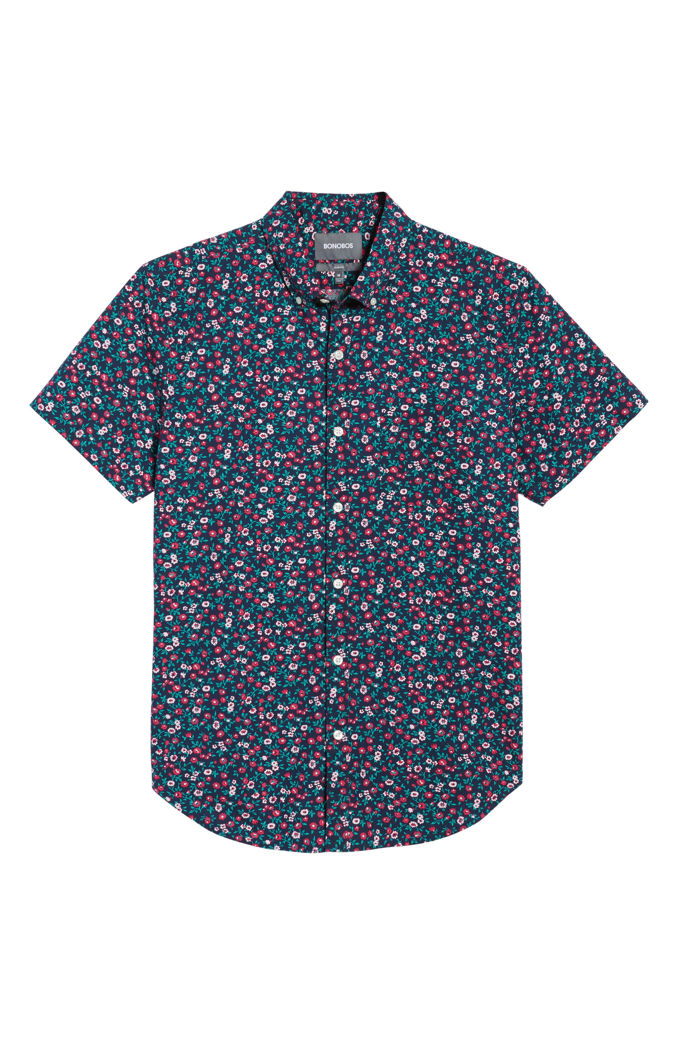 Slim Fit Print Short Sleeve Sport Shirt,                             Alternate thumbnail 6, color,                             Whitecap Floral - Red