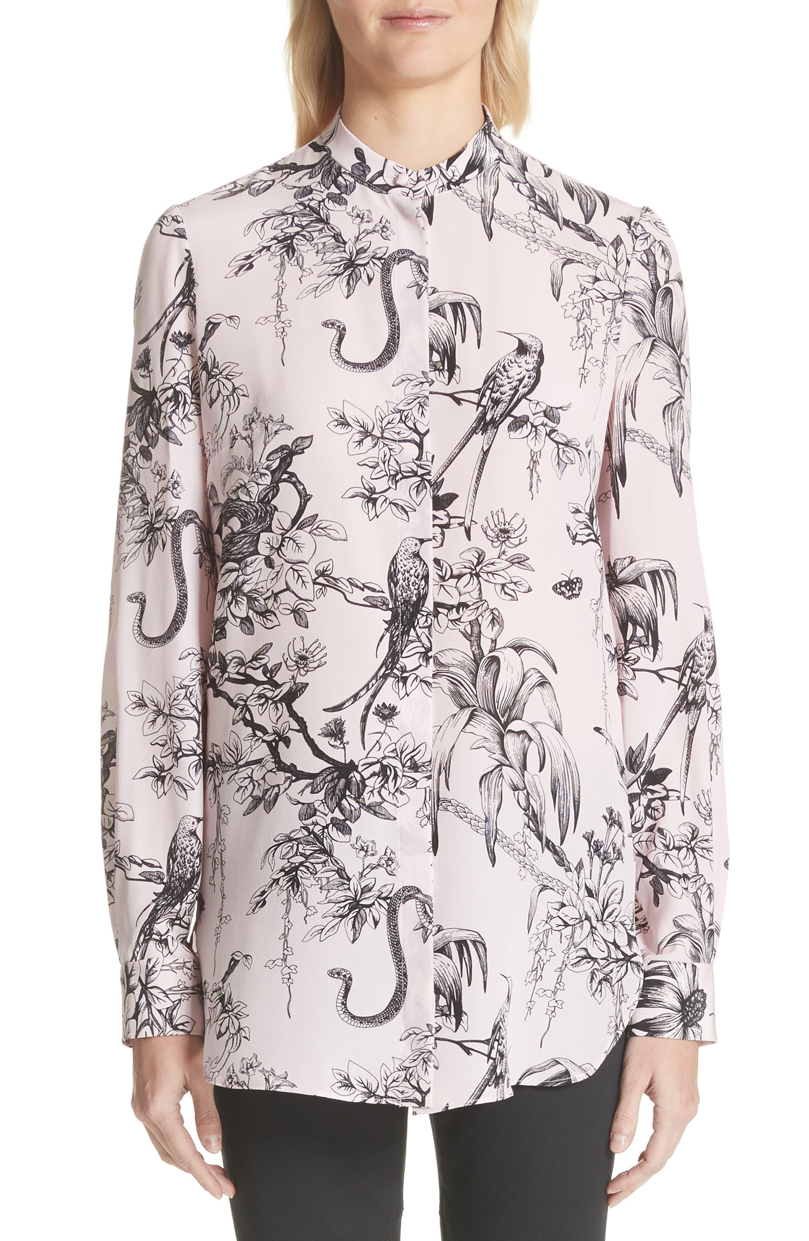 Alexander McQueen Bird Print Silk Shirt