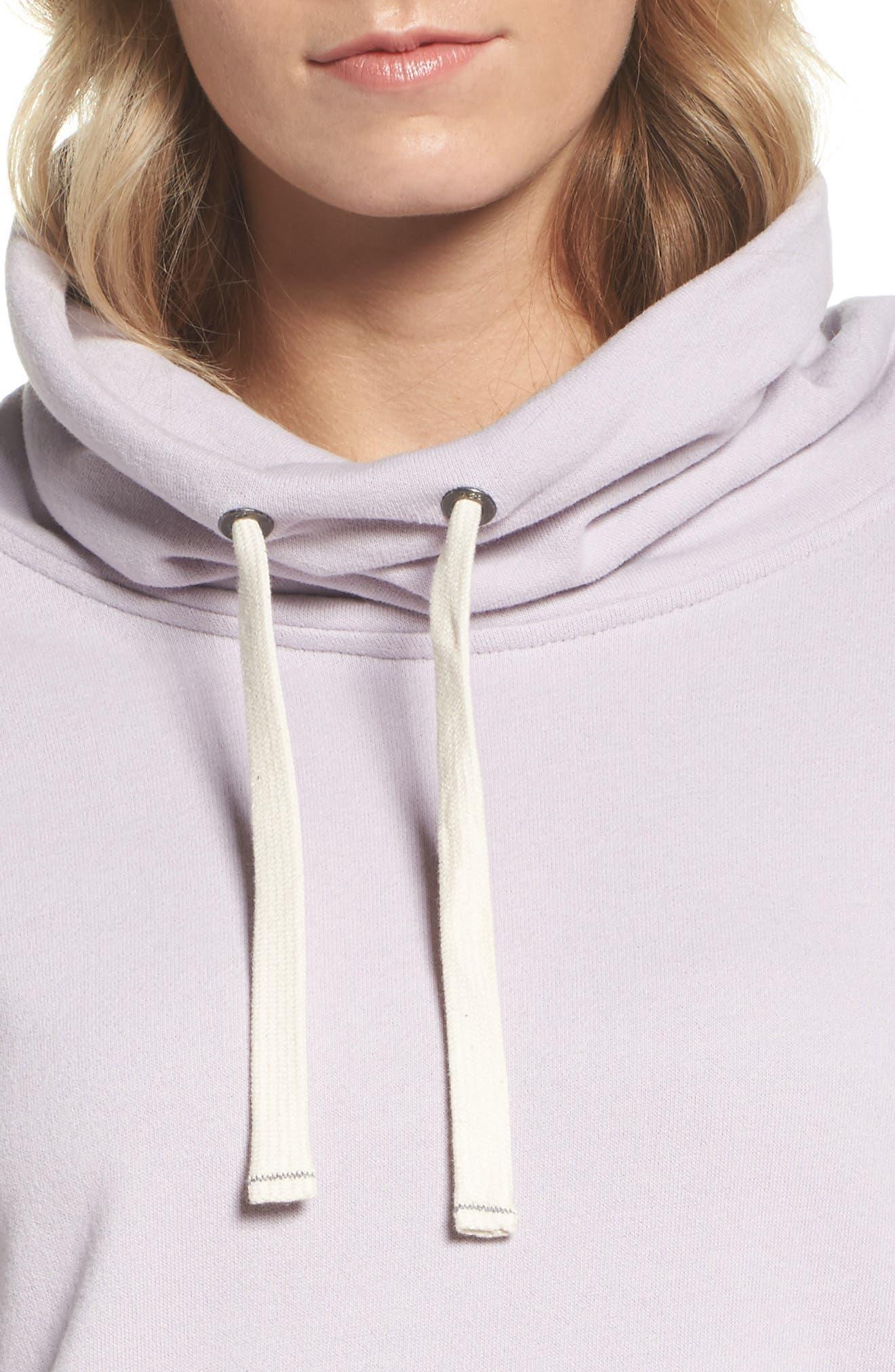 Miya Funnel Neck Sweatshirt,                             Alternate thumbnail 5, color,                             Lavender Fog