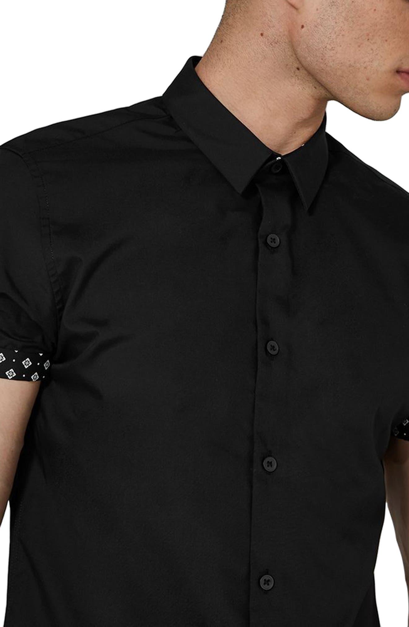 Slim Fit Geo Print Shirt,                             Alternate thumbnail 3, color,                             Black Multi