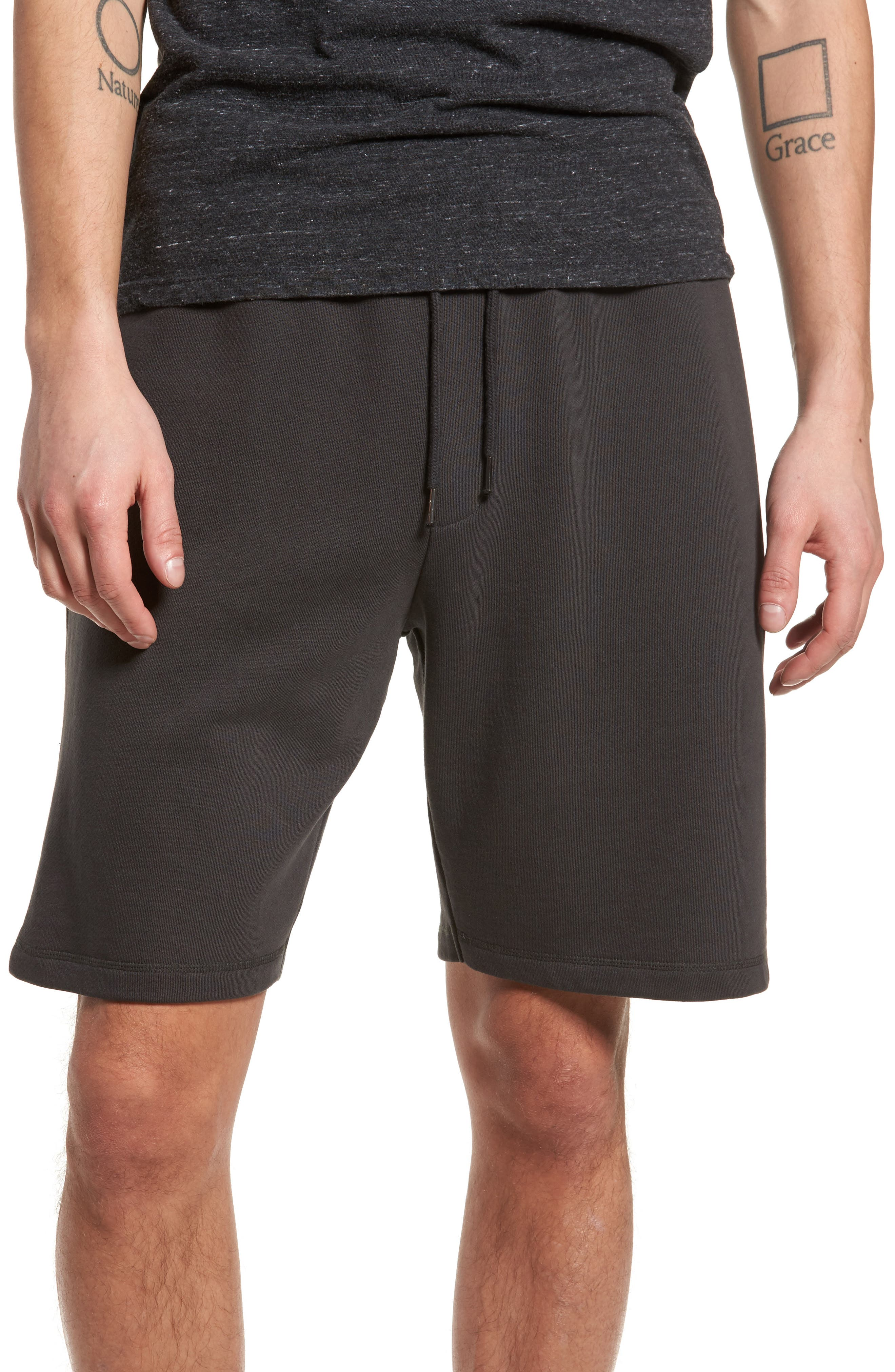 Marty Fleece Shorts,                         Main,                         color, Pirate Black