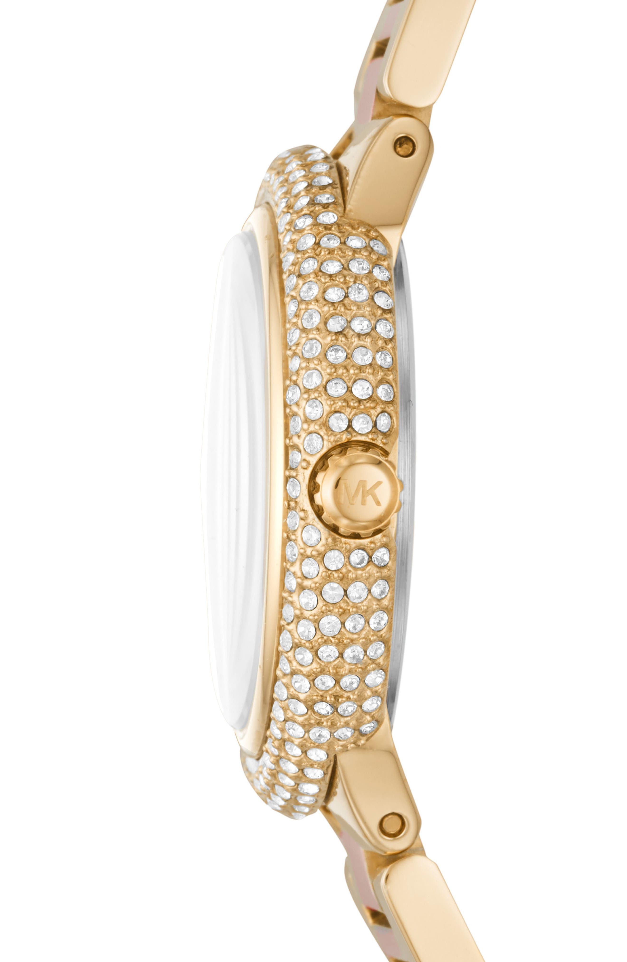 Taryn Crystal Bracelet Watch, 33mm,                             Alternate thumbnail 2, color,                             Rose Gold/ Gold/ Rose Gold