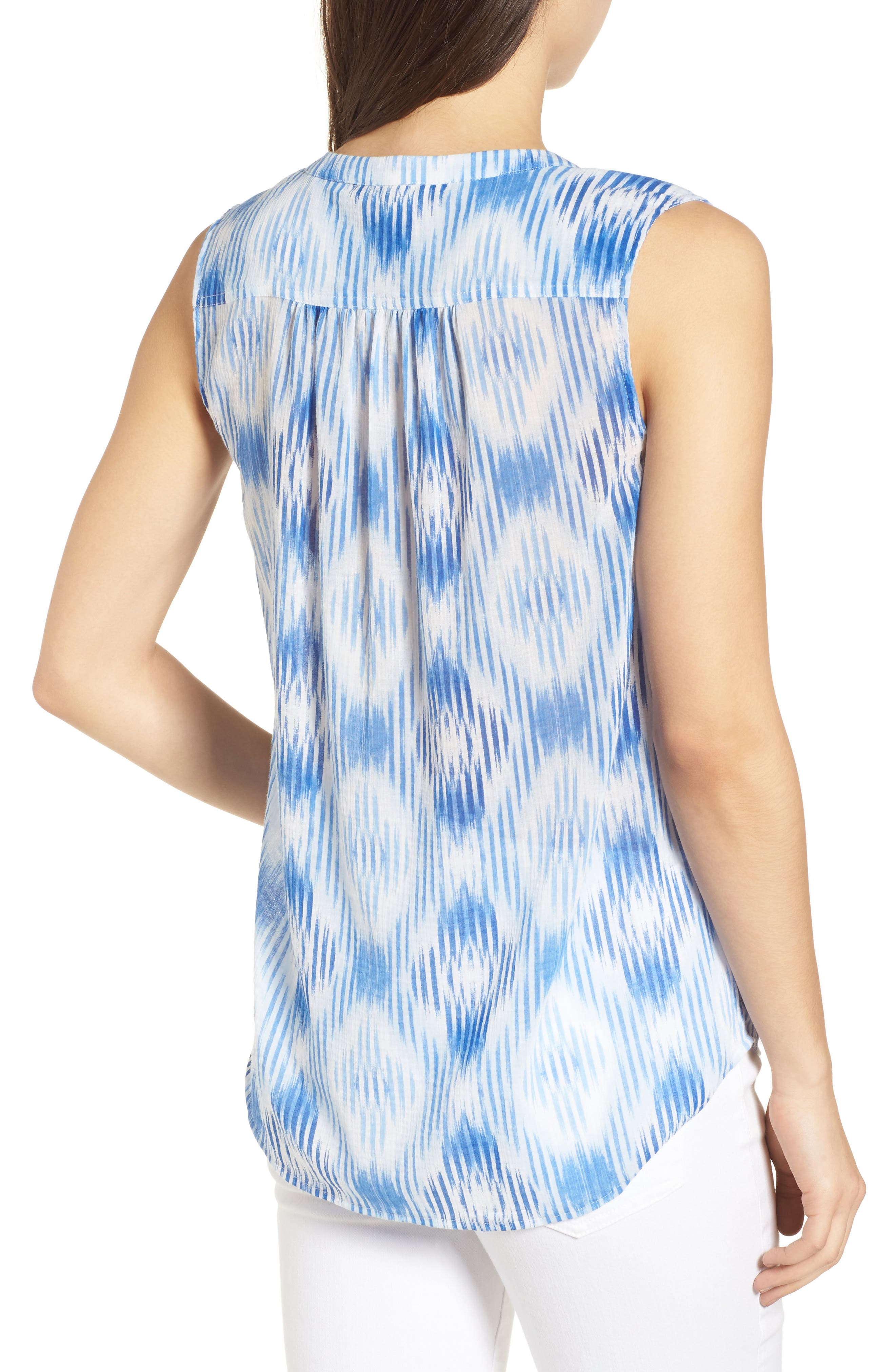 Isabella Sleeveless Cotton Top,                             Alternate thumbnail 2, color,                             Palace Blue