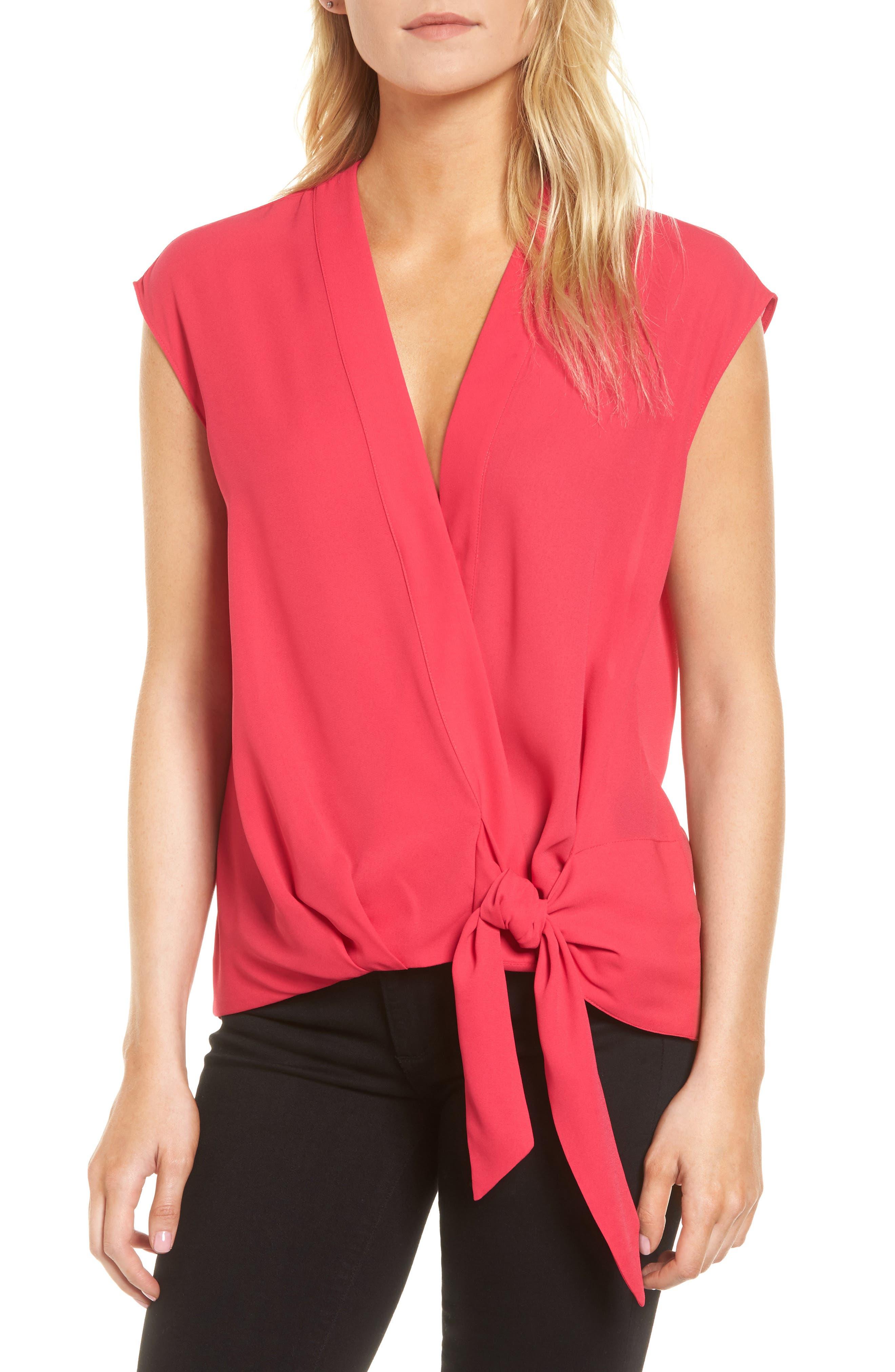 Wrap Top,                         Main,                         color, Pink Bright