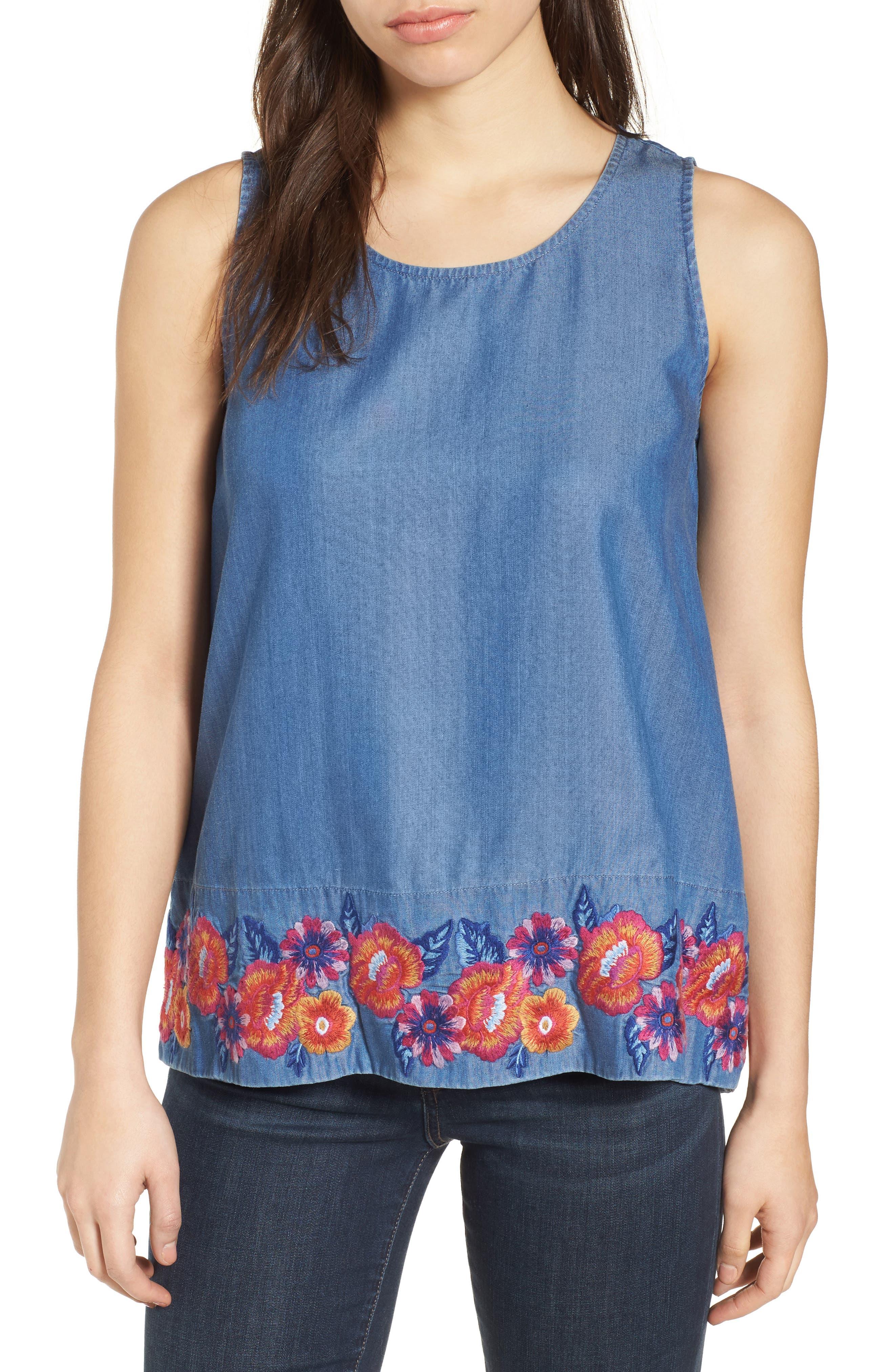 Frieda Floral Embroidered Top,                         Main,                         color, Med Indigo Wash