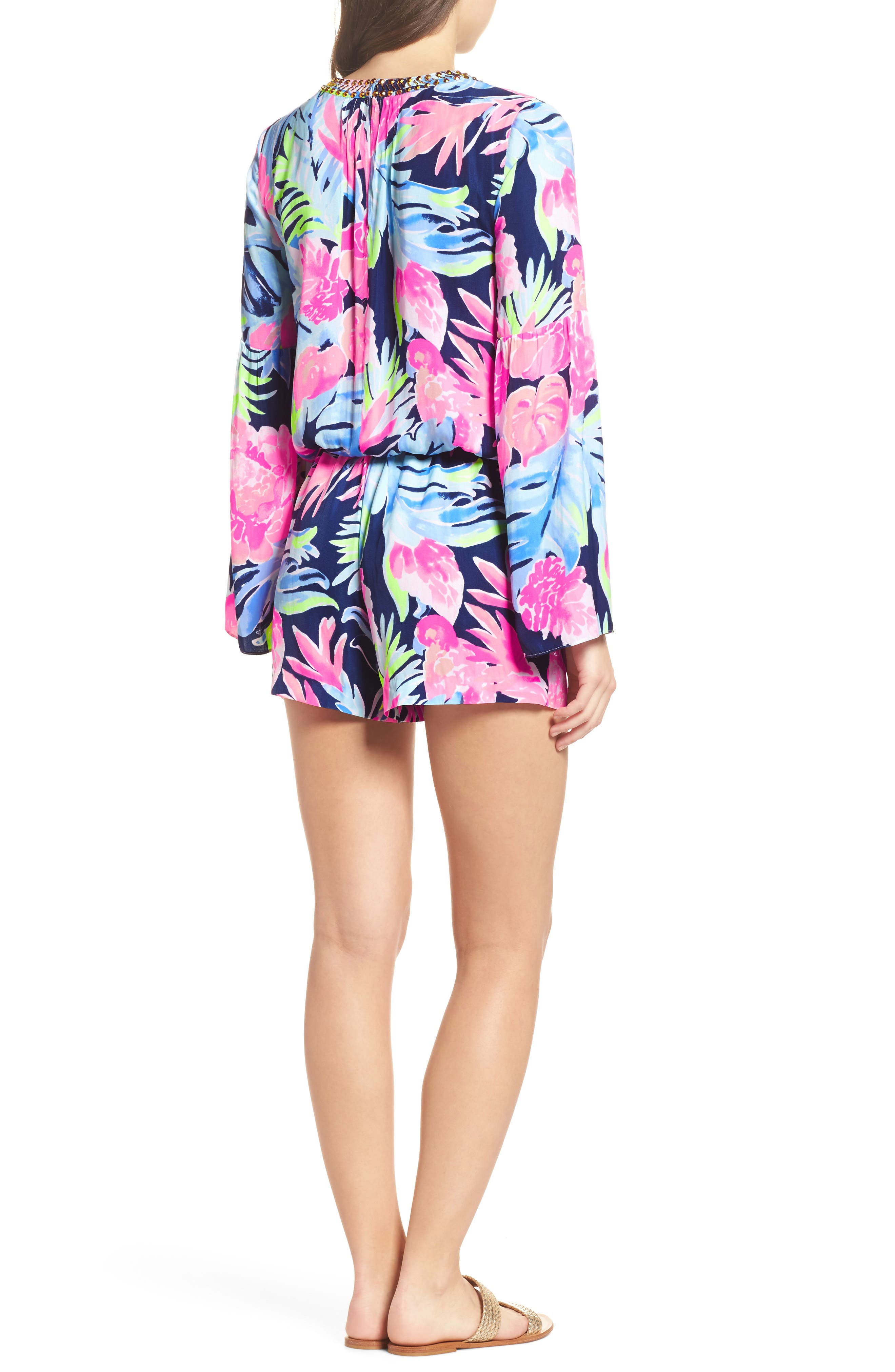 Ariele Floral Romper,                             Alternate thumbnail 2, color,                             High Tide Tropicolada