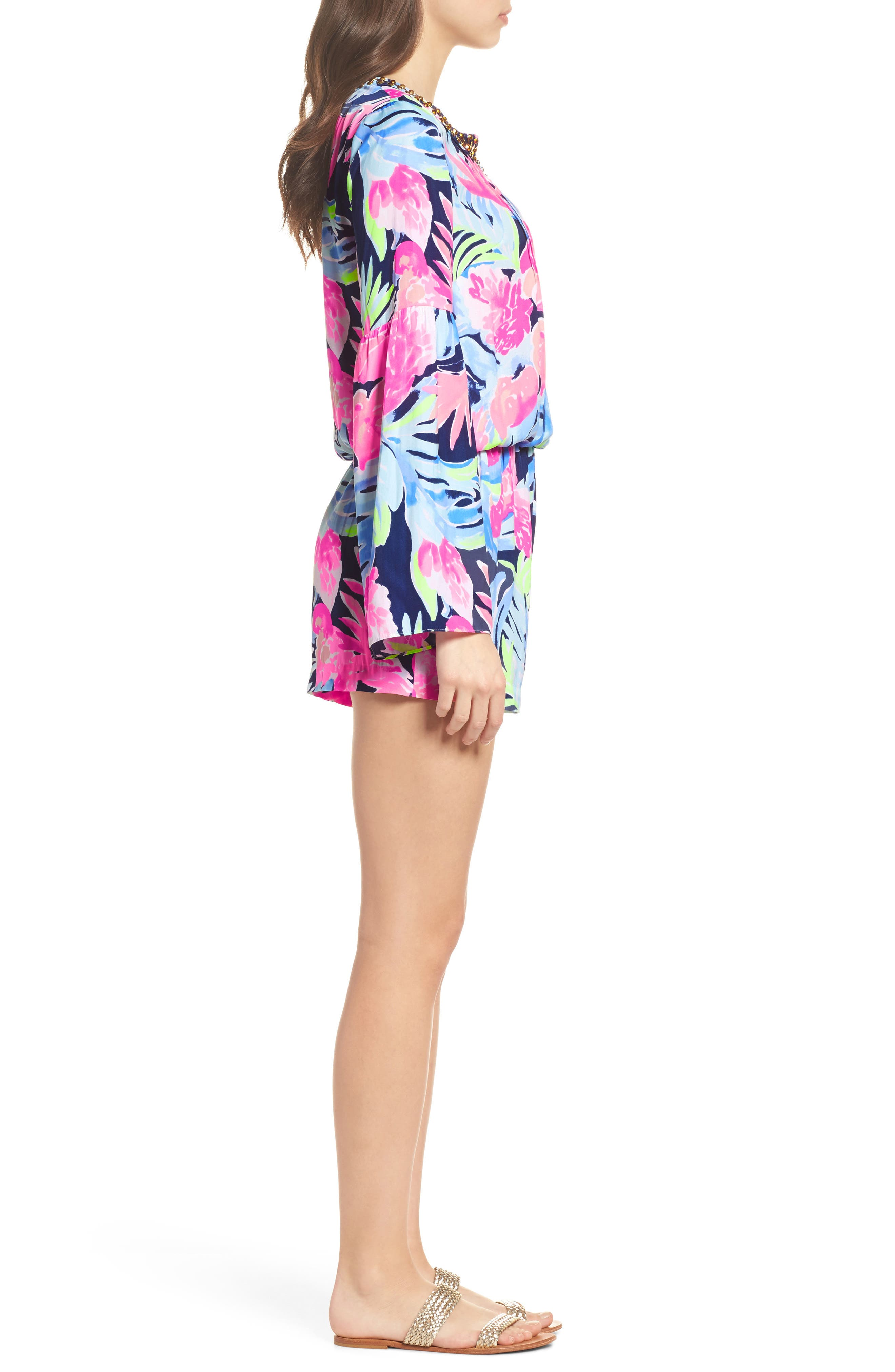 Ariele Floral Romper,                             Alternate thumbnail 3, color,                             High Tide Tropicolada