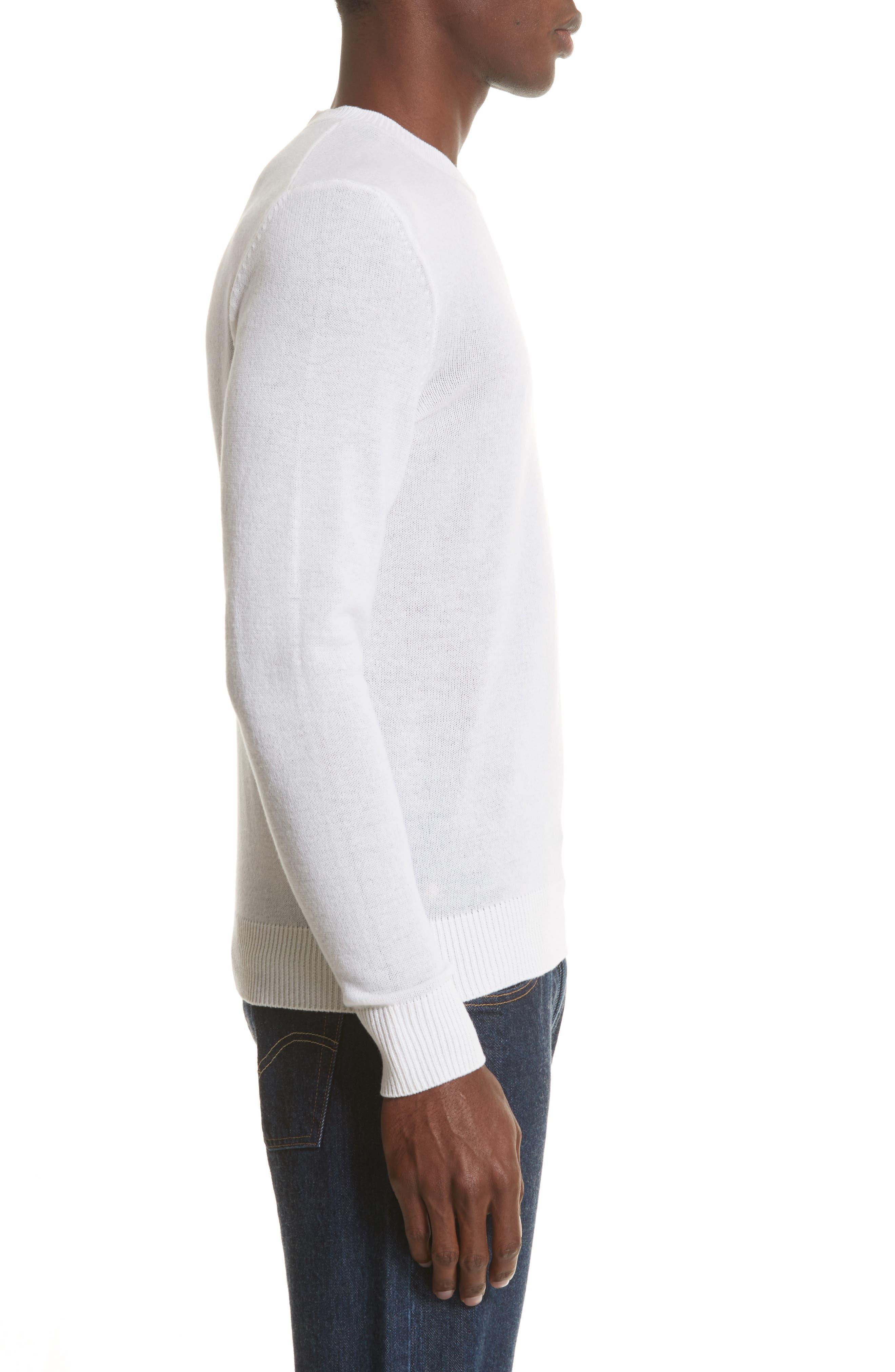 Cashmere Crewneck Sweater,                             Alternate thumbnail 3, color,                             White