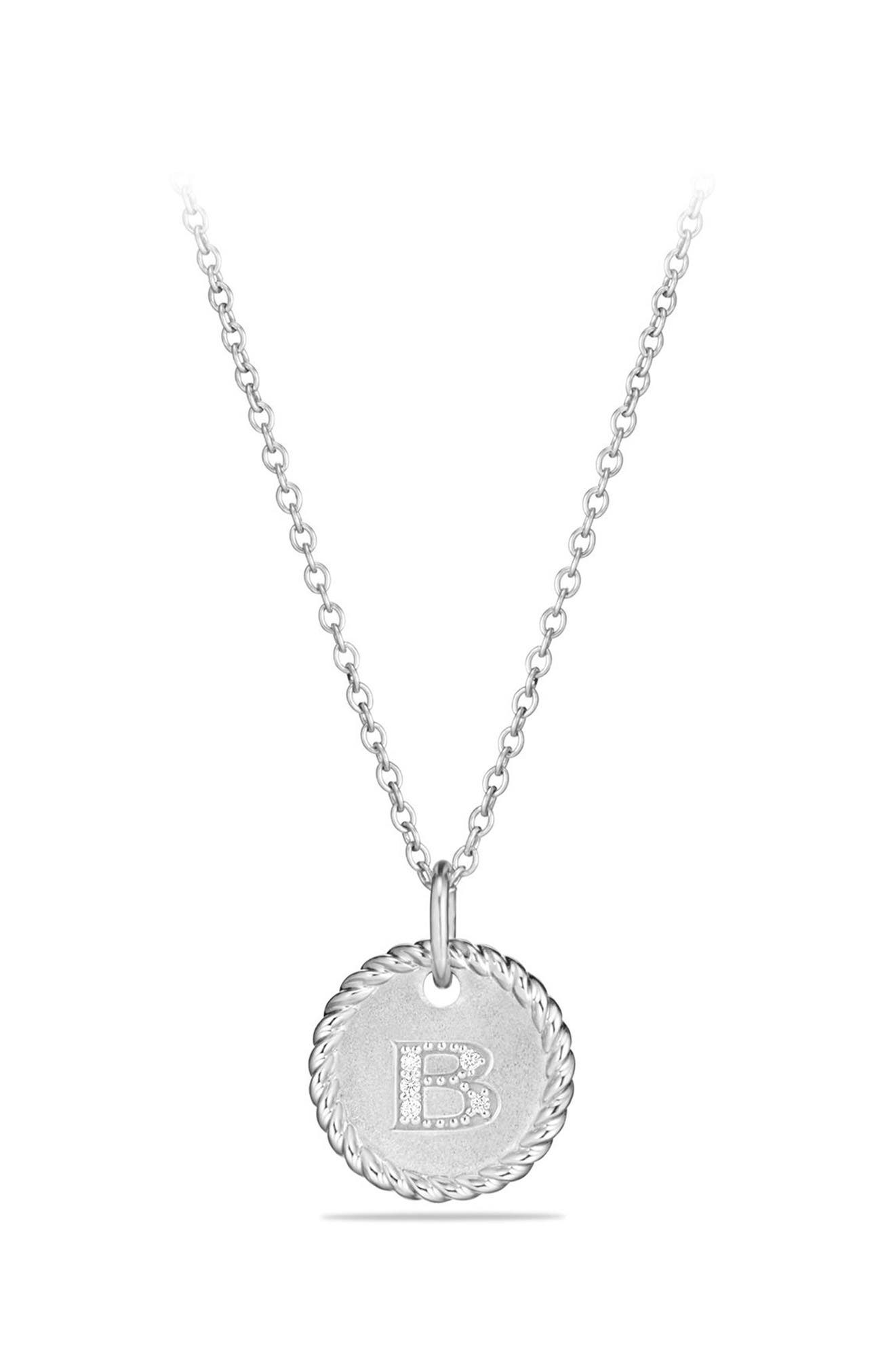 Initial Charm Necklace with Diamonds in 18K White Gold,                         Main,                         color, B